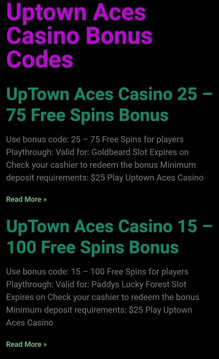 Uptown aces bonuses