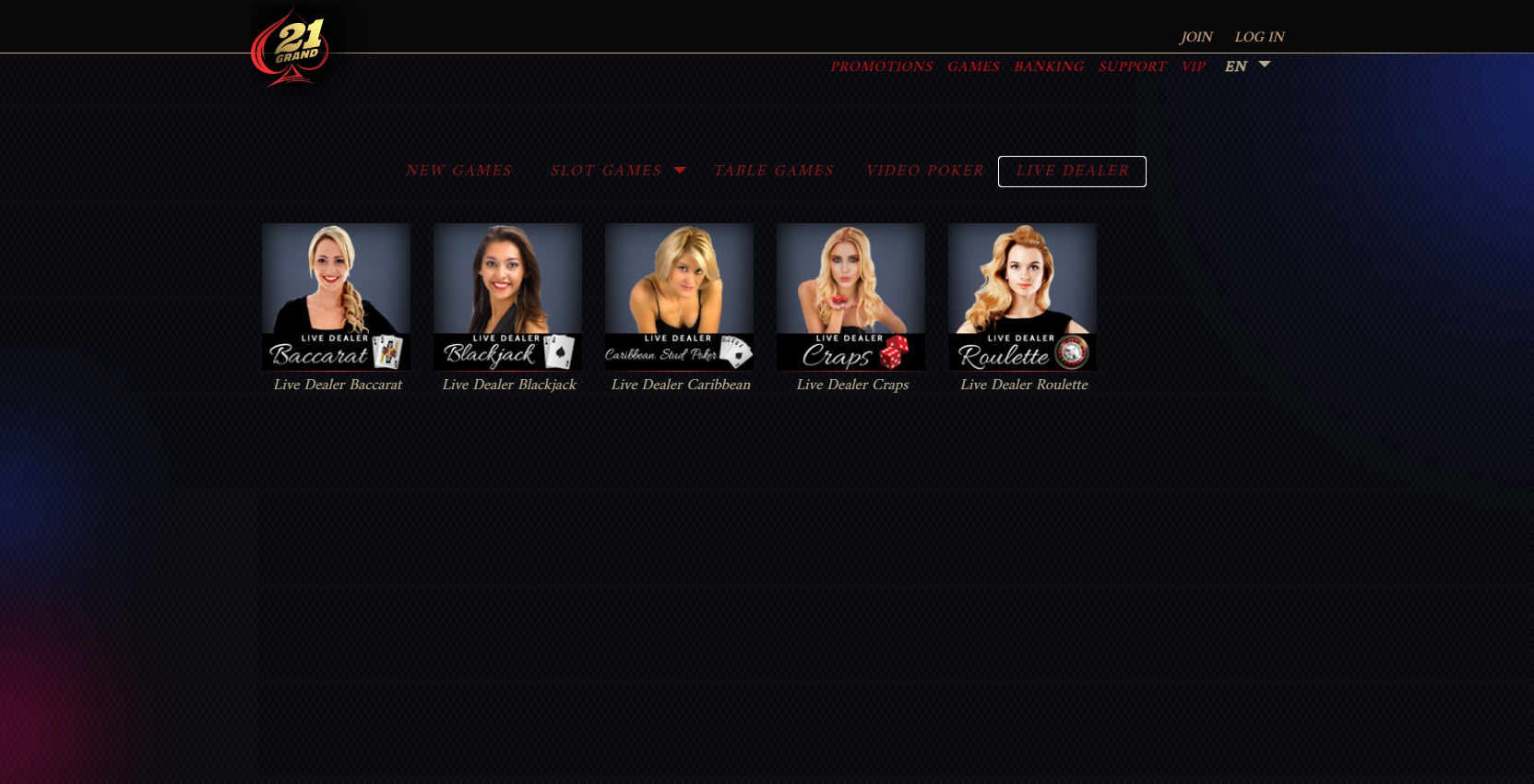 21 Grand Casino Europe Live Dealer Games