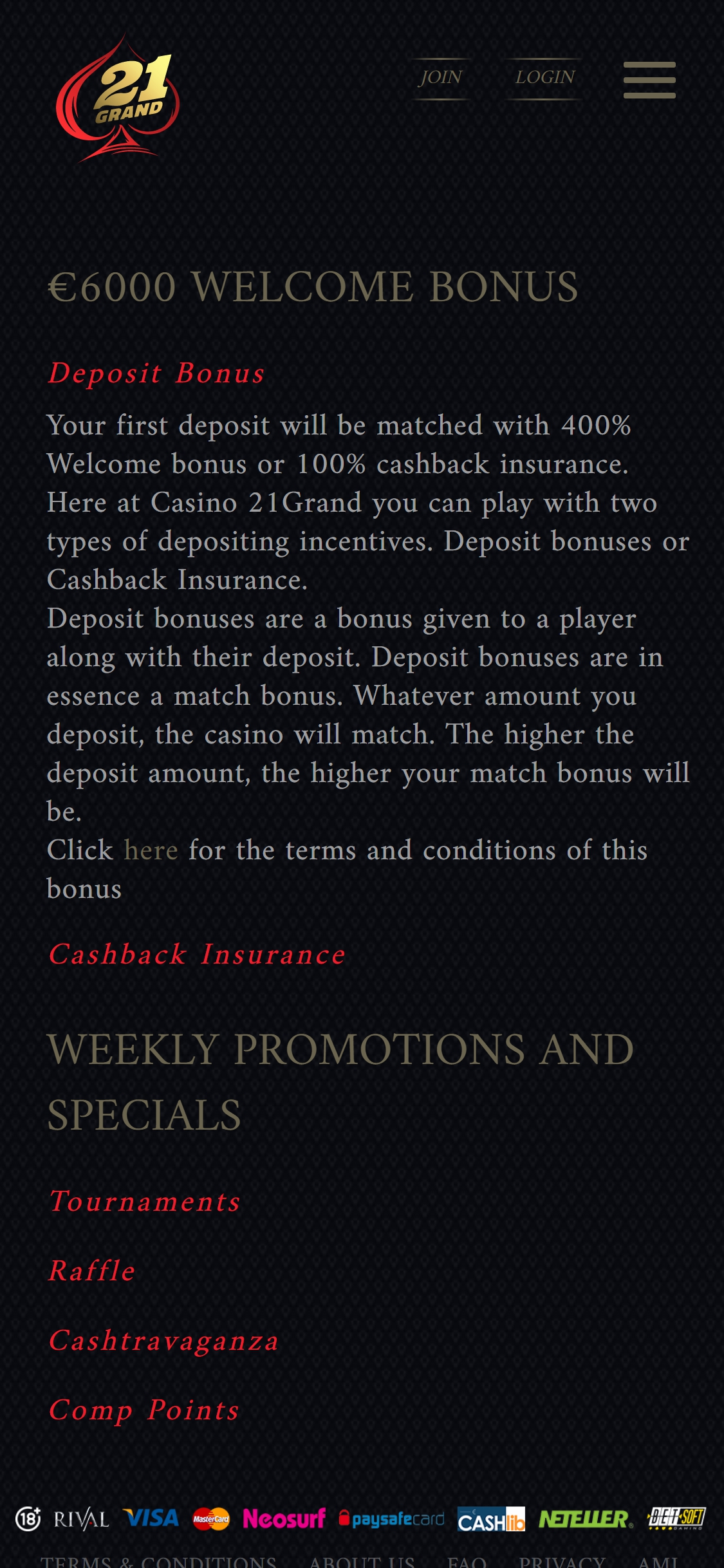 21 Grand Casino Europe No Deposit Bonus
