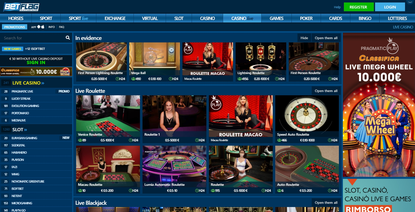 Betflag Casino Live Dealer Games
