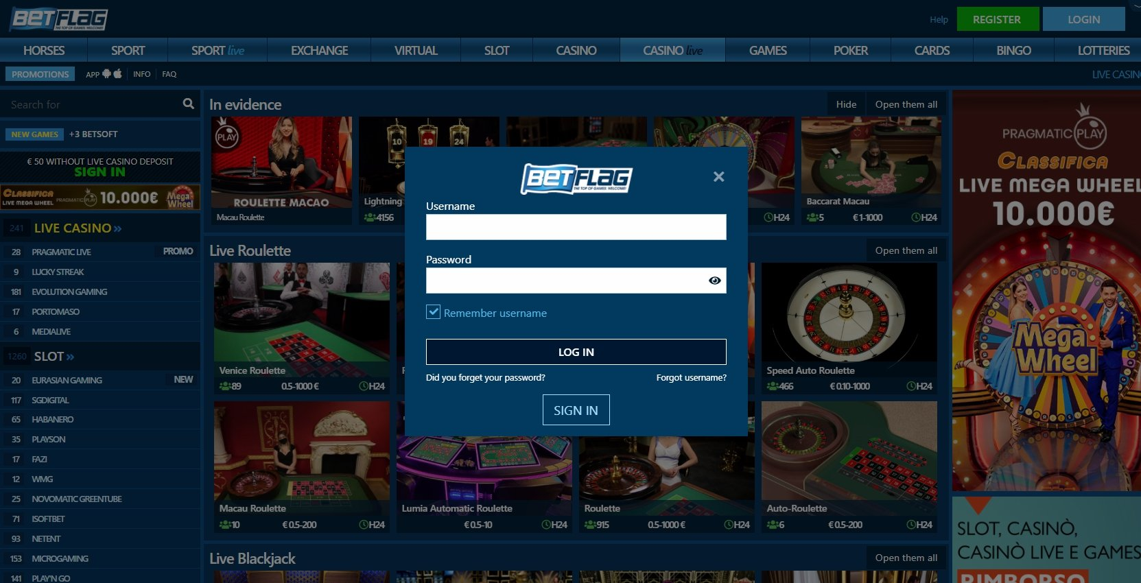 Betflag Casino Login