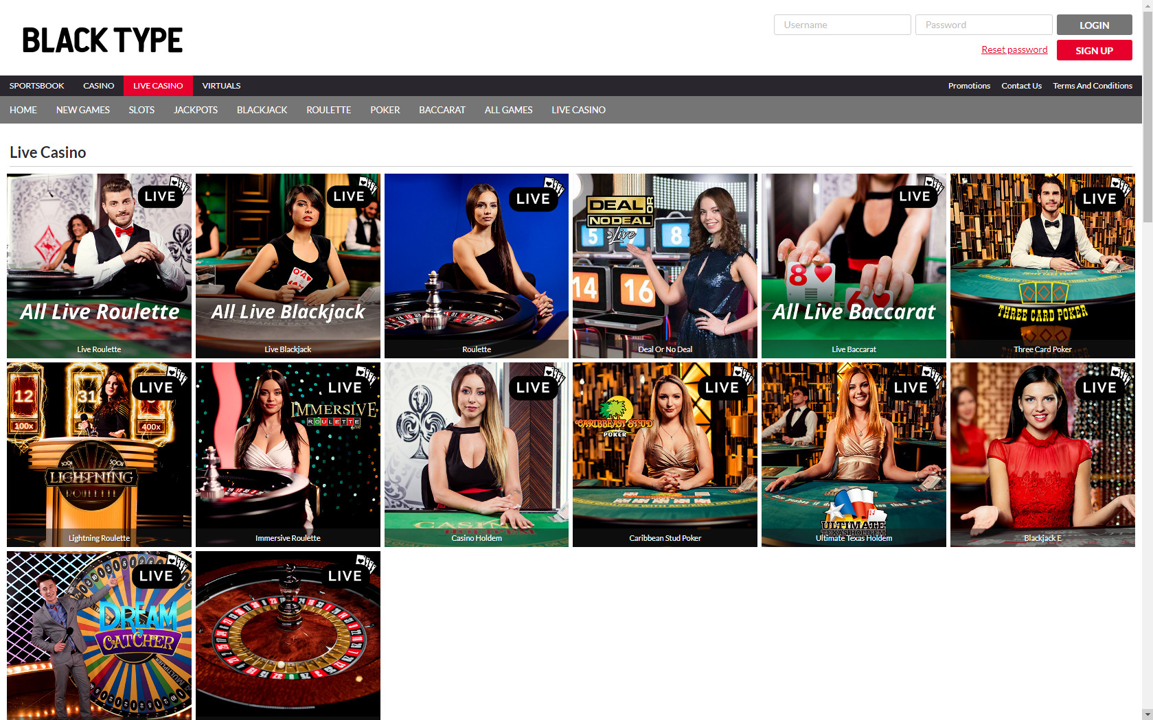 Black Type Casino Live Dealer Games
