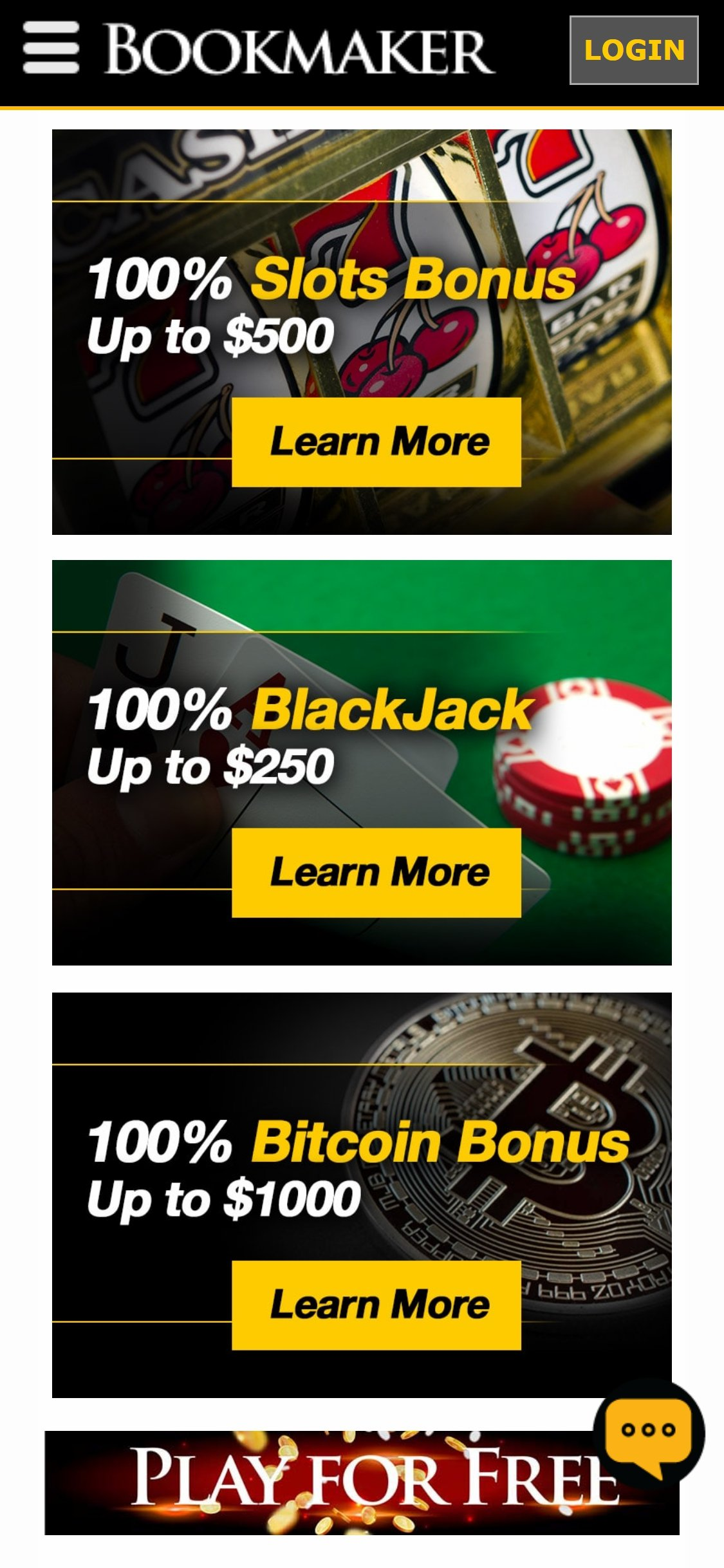 BookMaker Casino No Deposit Bonus