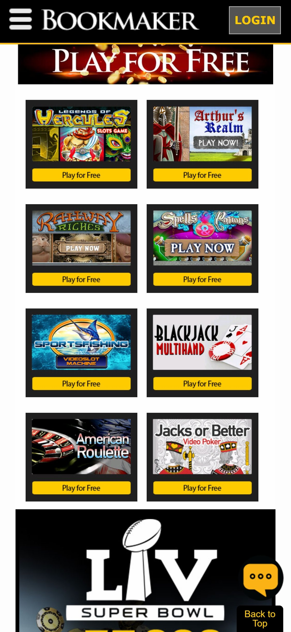 BookMaker Casino Games