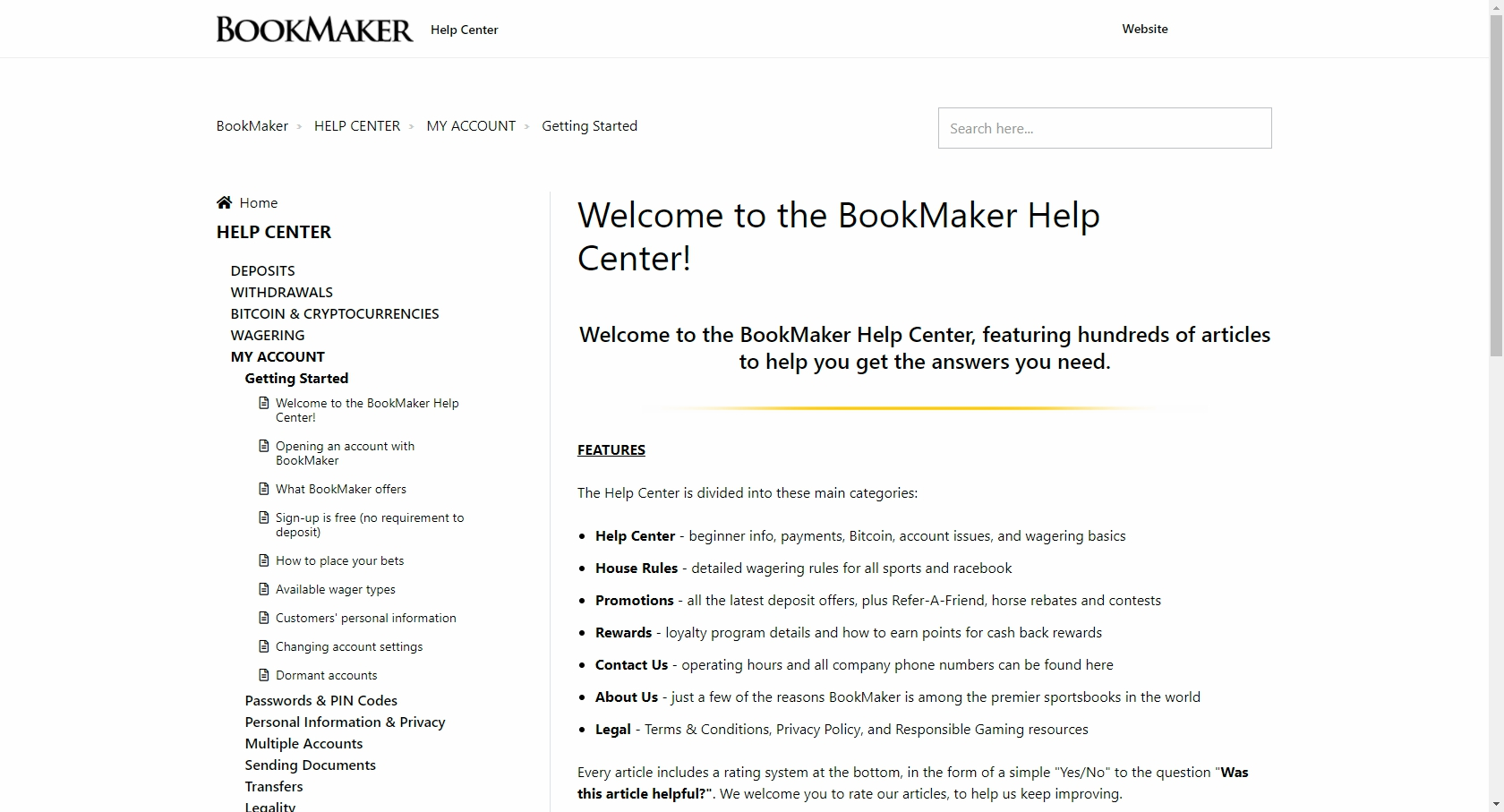 BookMaker Casino Support