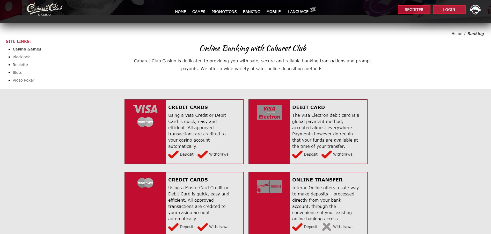 Cabaret Club Casino Payment Methods