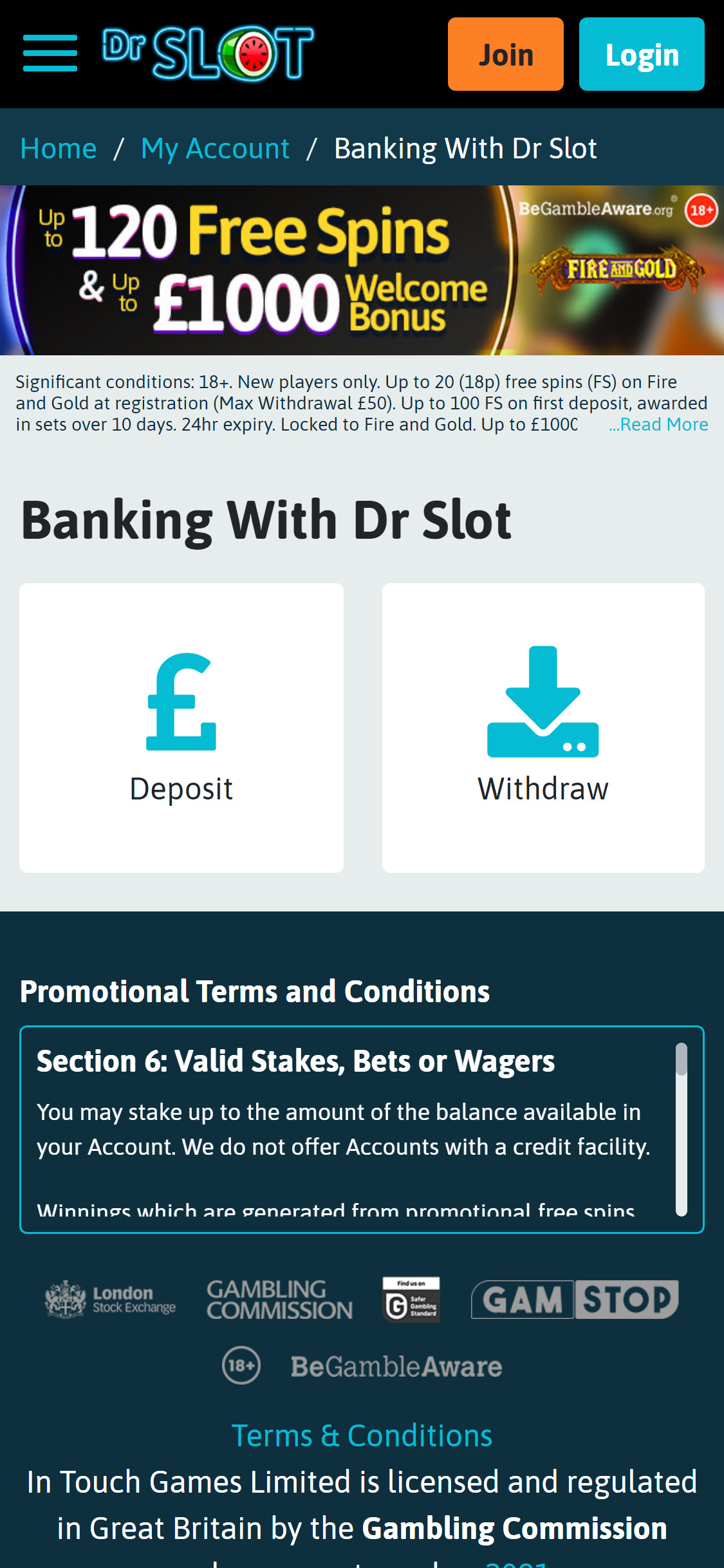 Dr Slot Casino Payment Methods