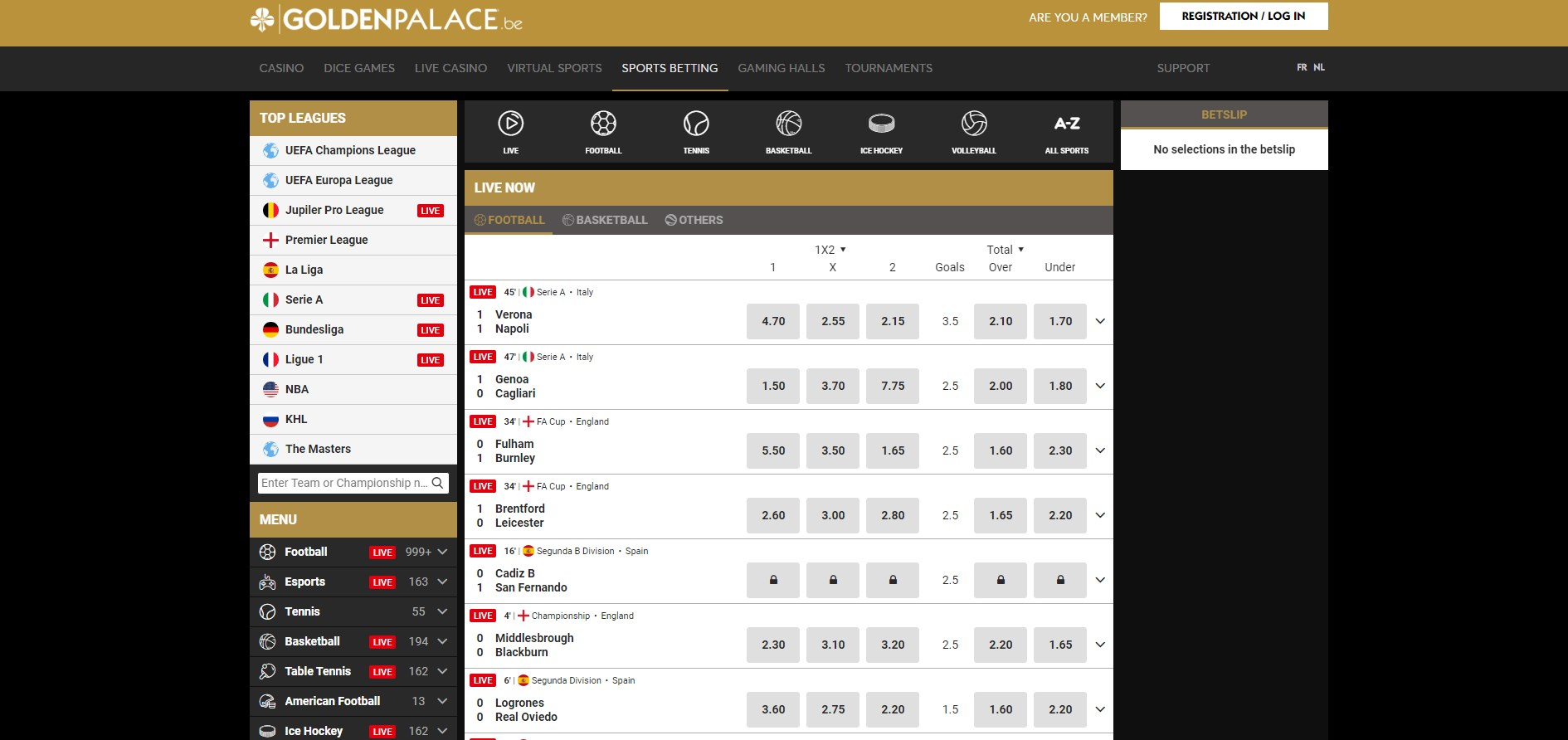 Golden Palace (BE) Casino Betting