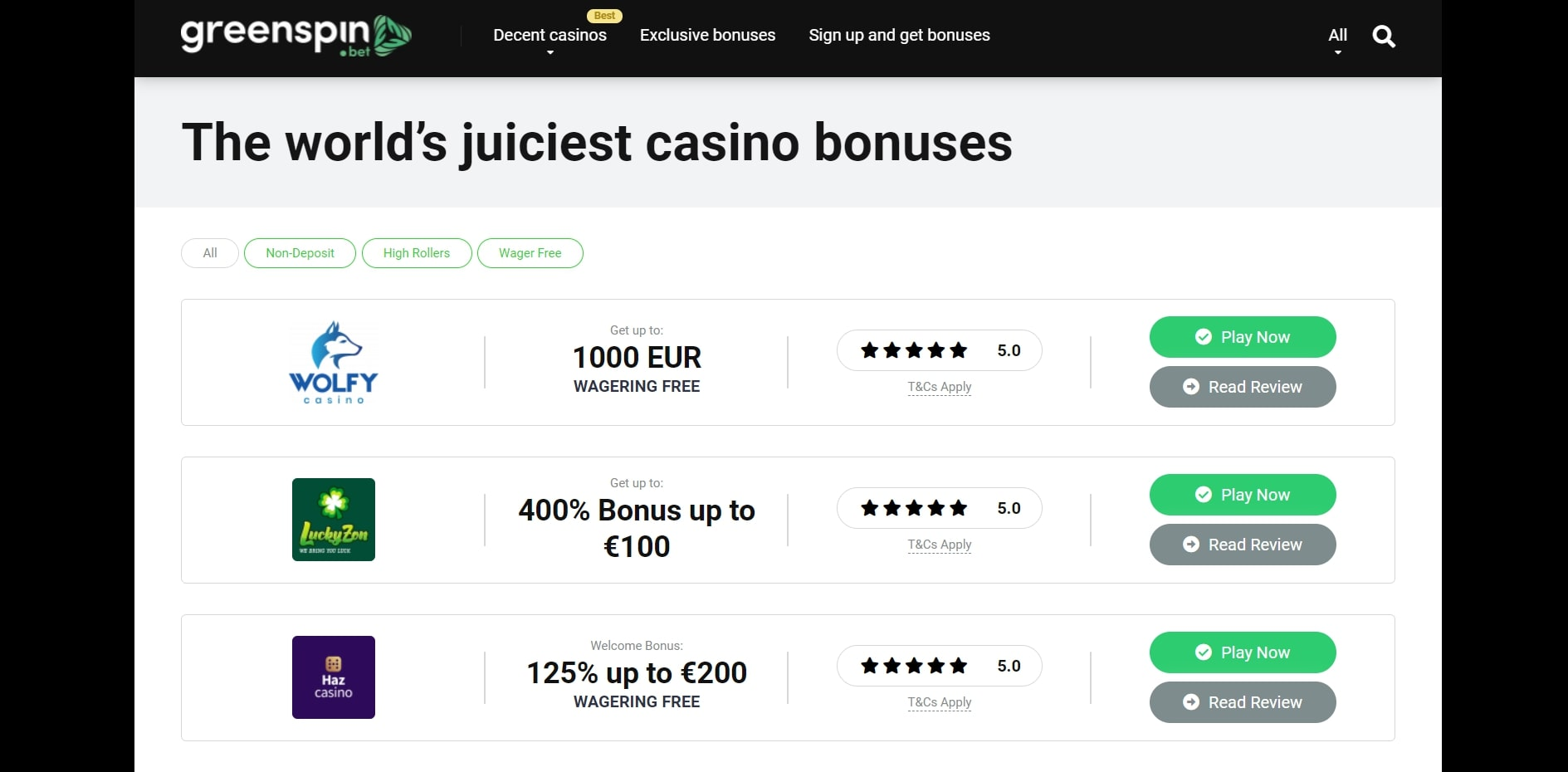 Greenspin Casino No Deposit Bonus