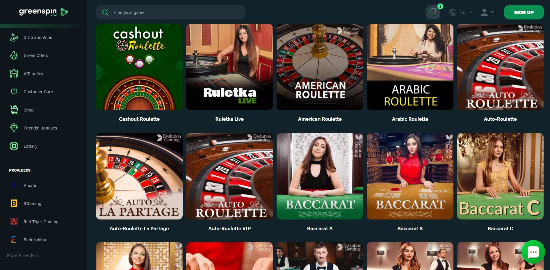 Greenspin Casino Live Dealer Games
