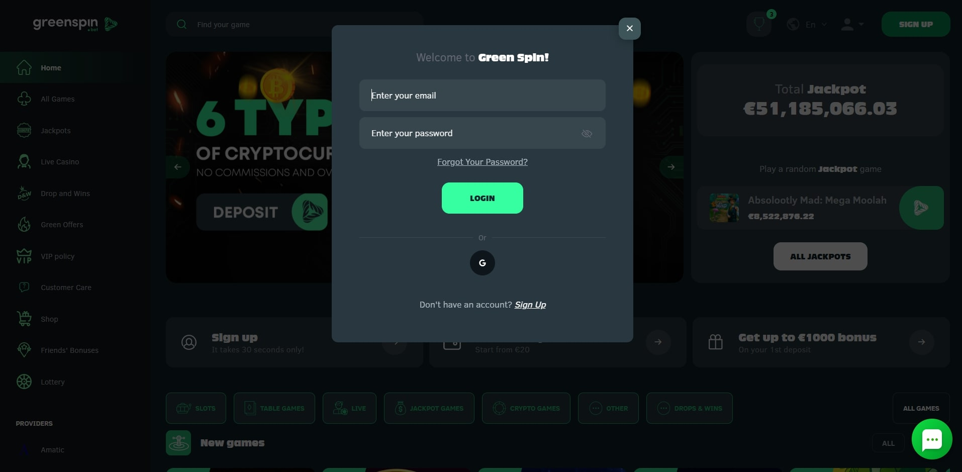 Greenspin Casino Login