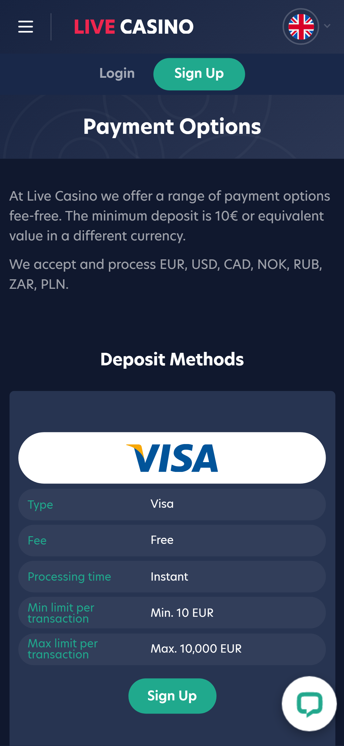 Live Casino Payment Methods