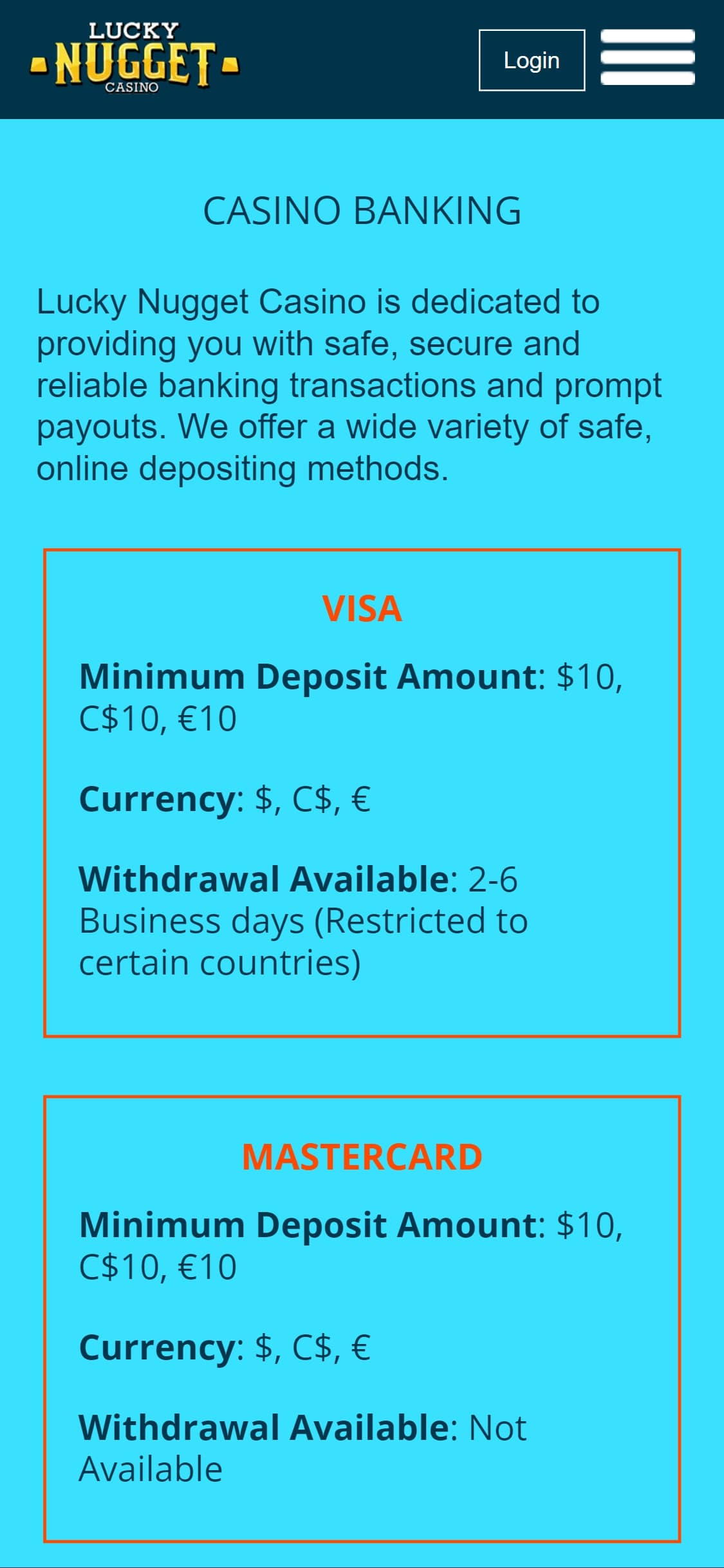 Lucky Nugget Casino US Payment Methods