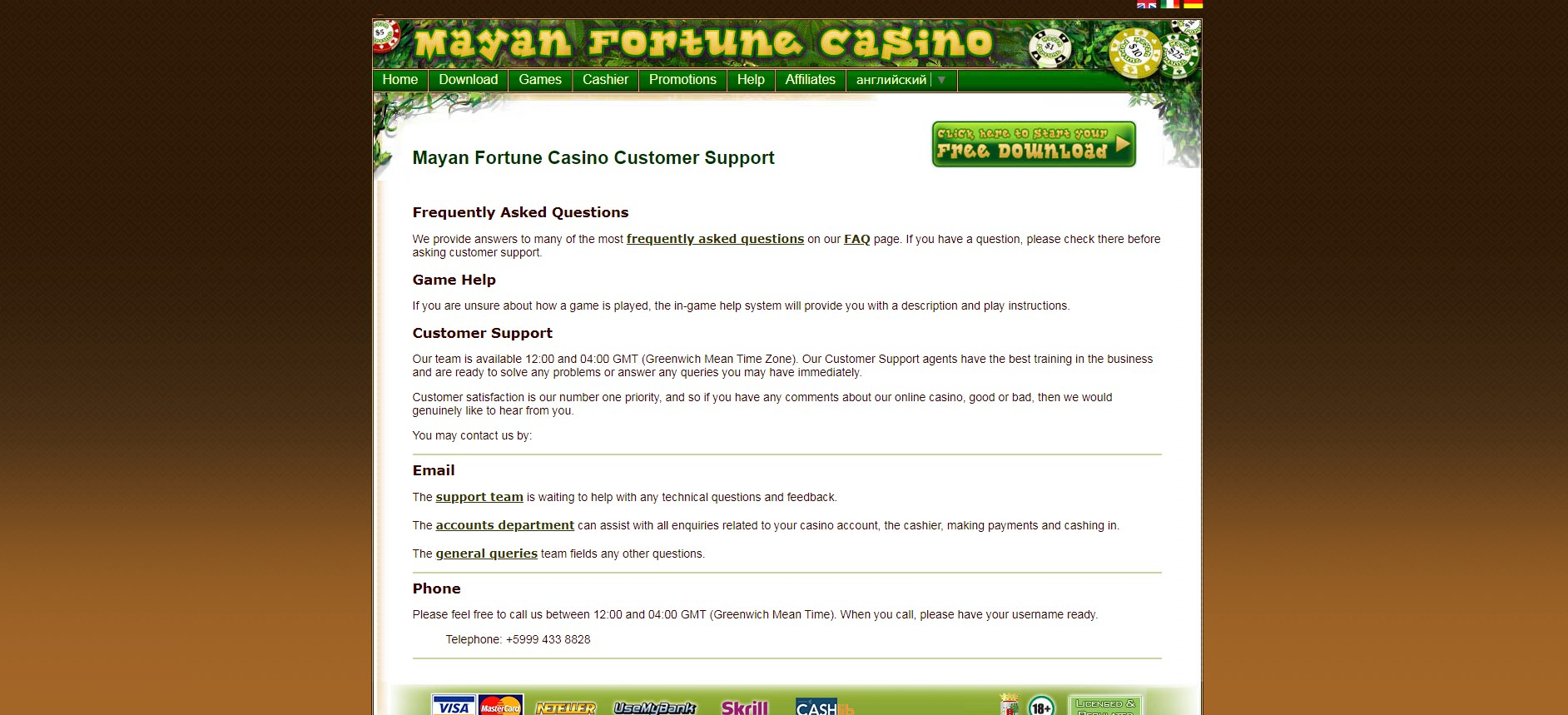 Mayan Fortune Casino Support