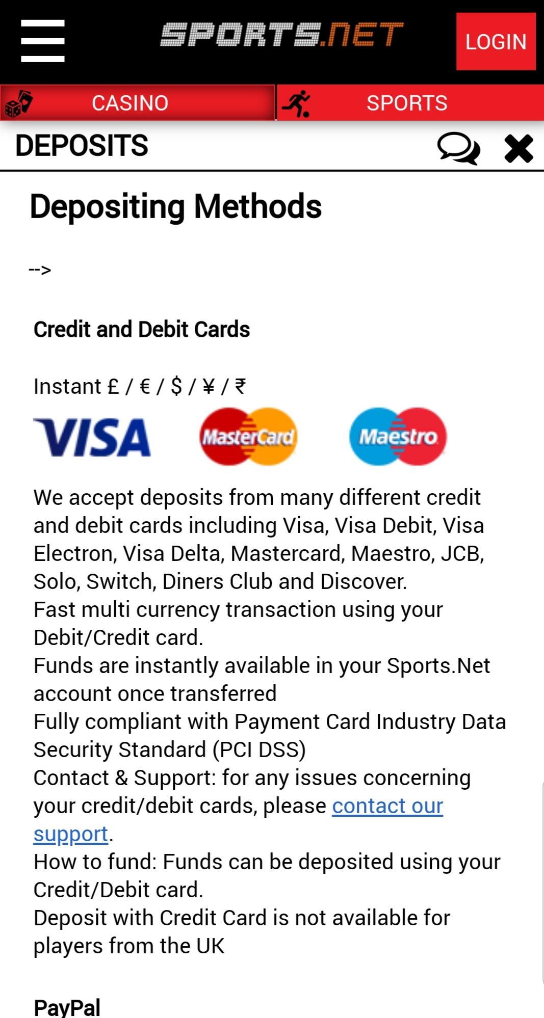 Sports Casino Payment Methods