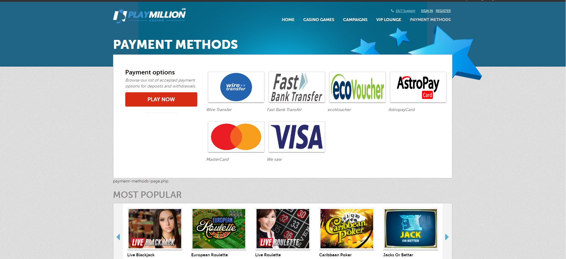 Play Million DK Casino Payment Methods
