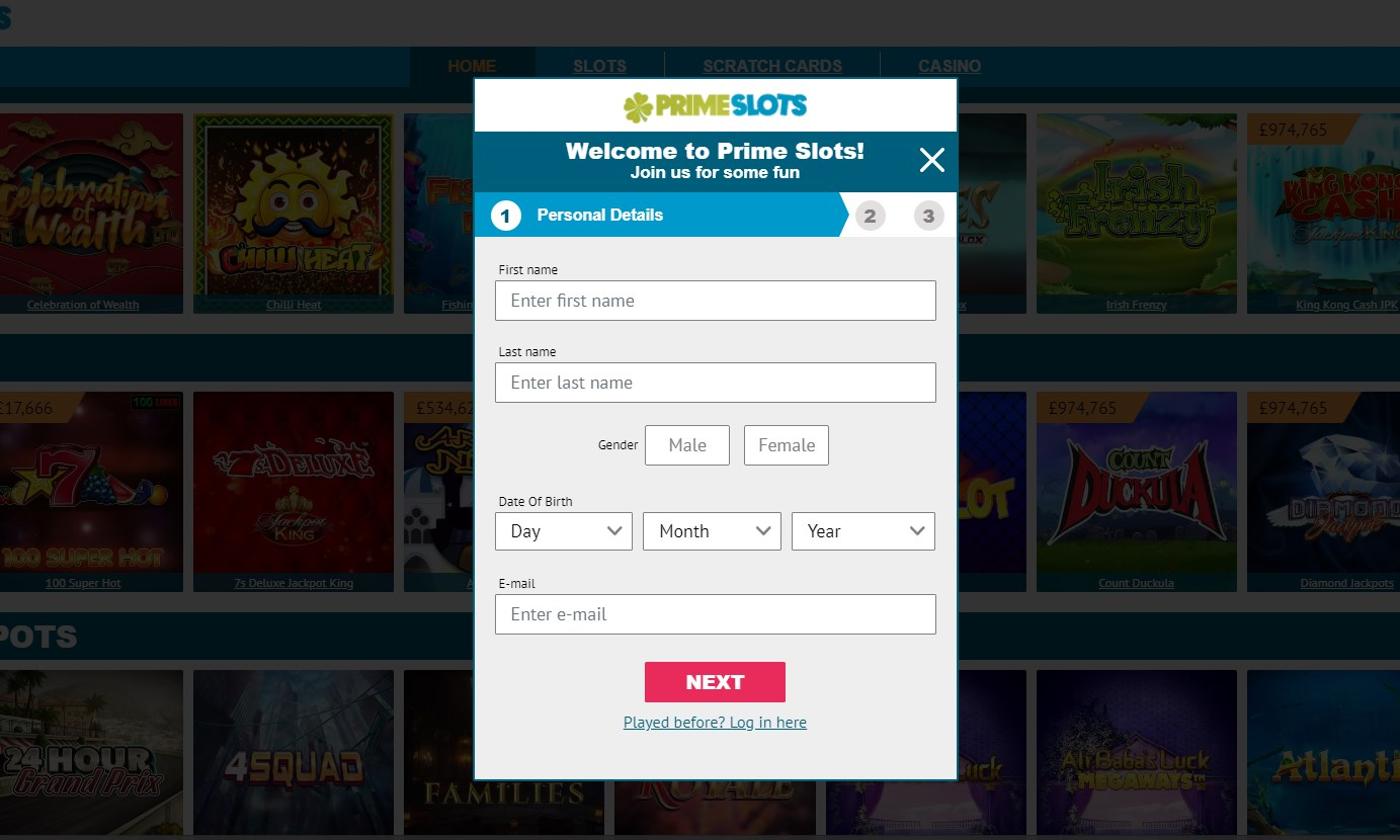 Prime Slots UK Casino Login
