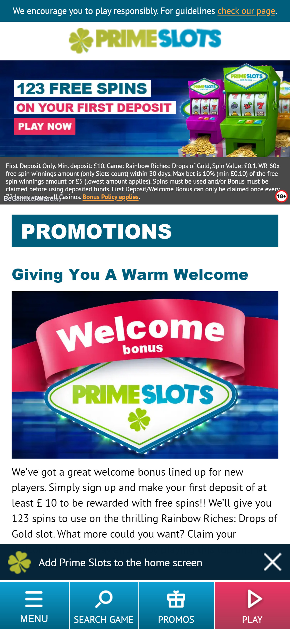 Prime Slots UK Casino No Deposit Bonus