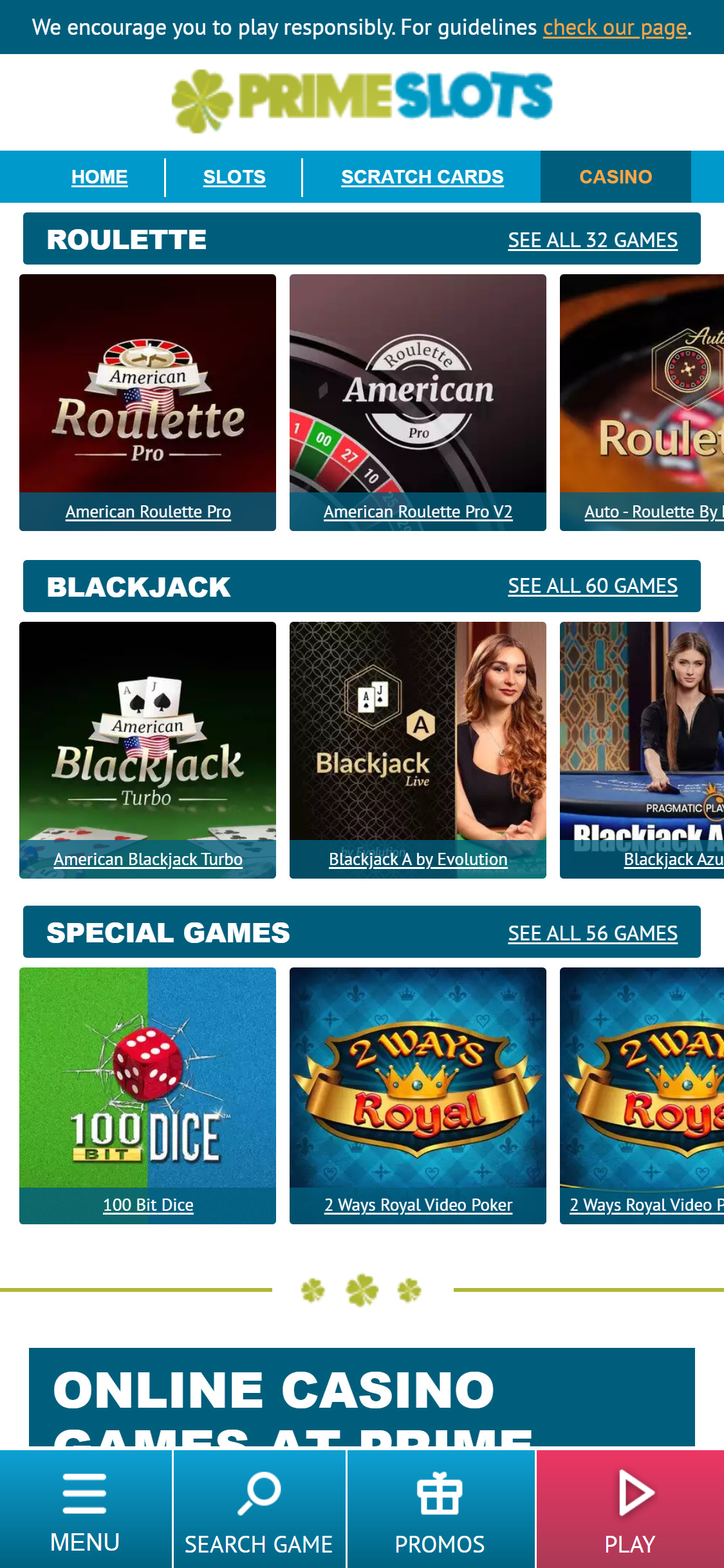 Prime Slots UK Casino Games