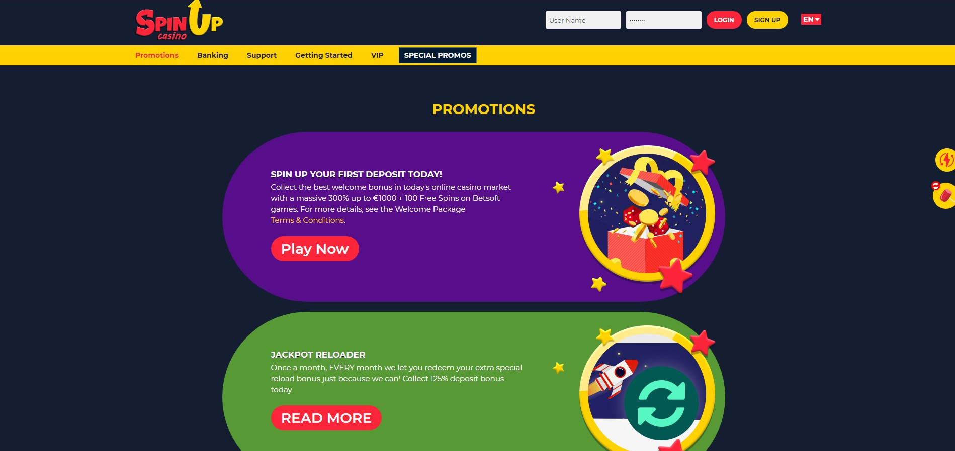 SpinUp Casino No Deposit Bonus