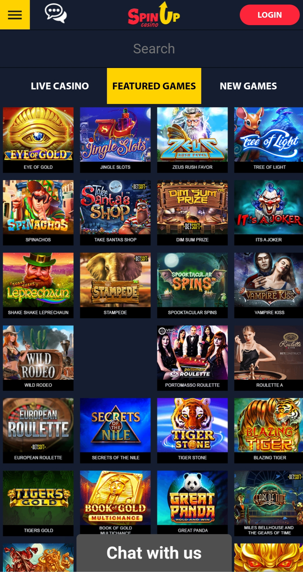 SpinUp Casino Games