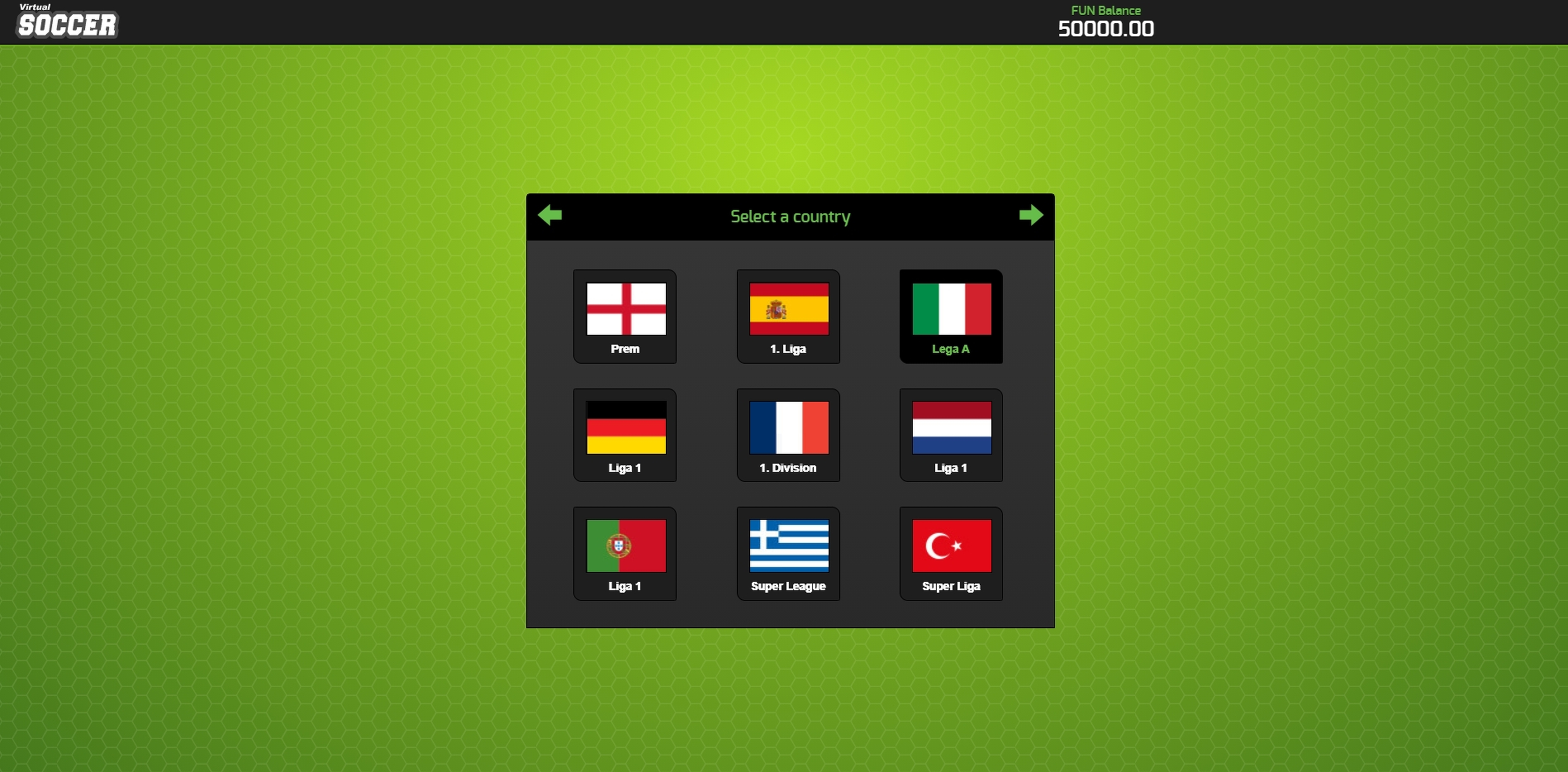 Play Virtual Soccer Free Casino Slot Game by 1x2Games