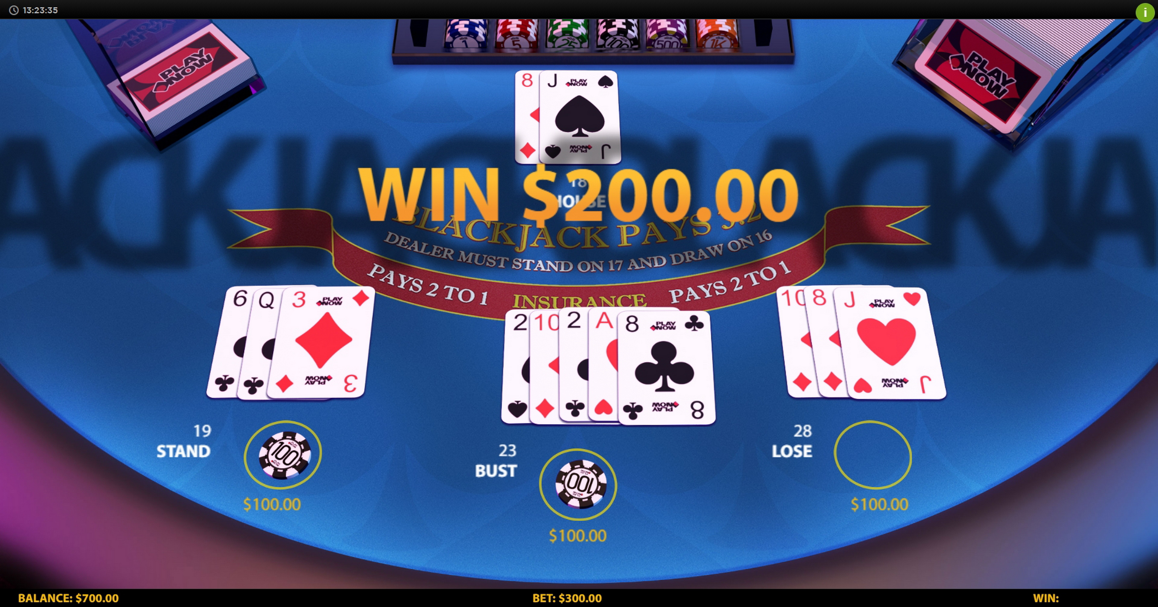 Win Money in 3 Hand Blackjack (HungryBear) Free Slot Game by HungryBear