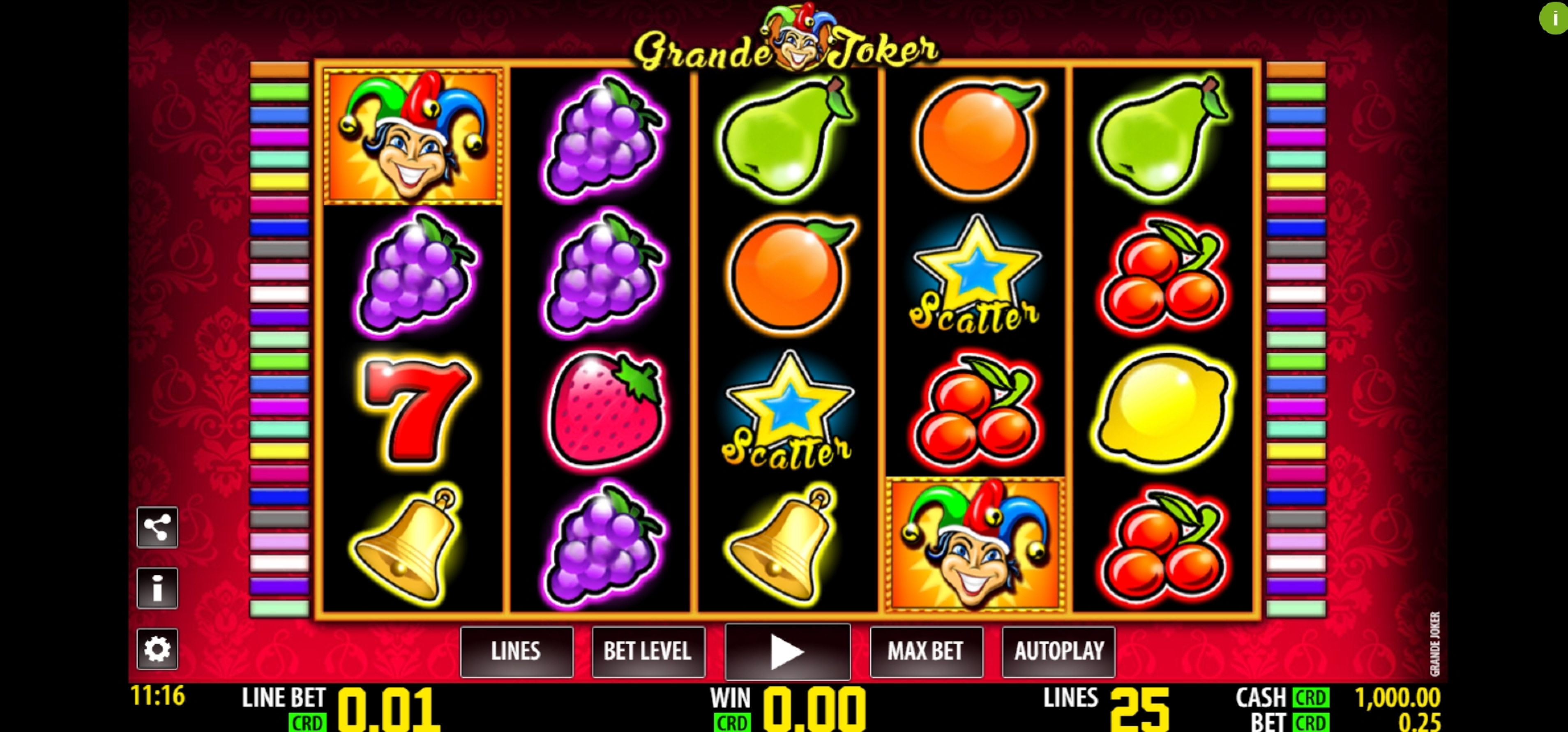 Reels in Grande Joker Slot Game by Nazionale Elettronica