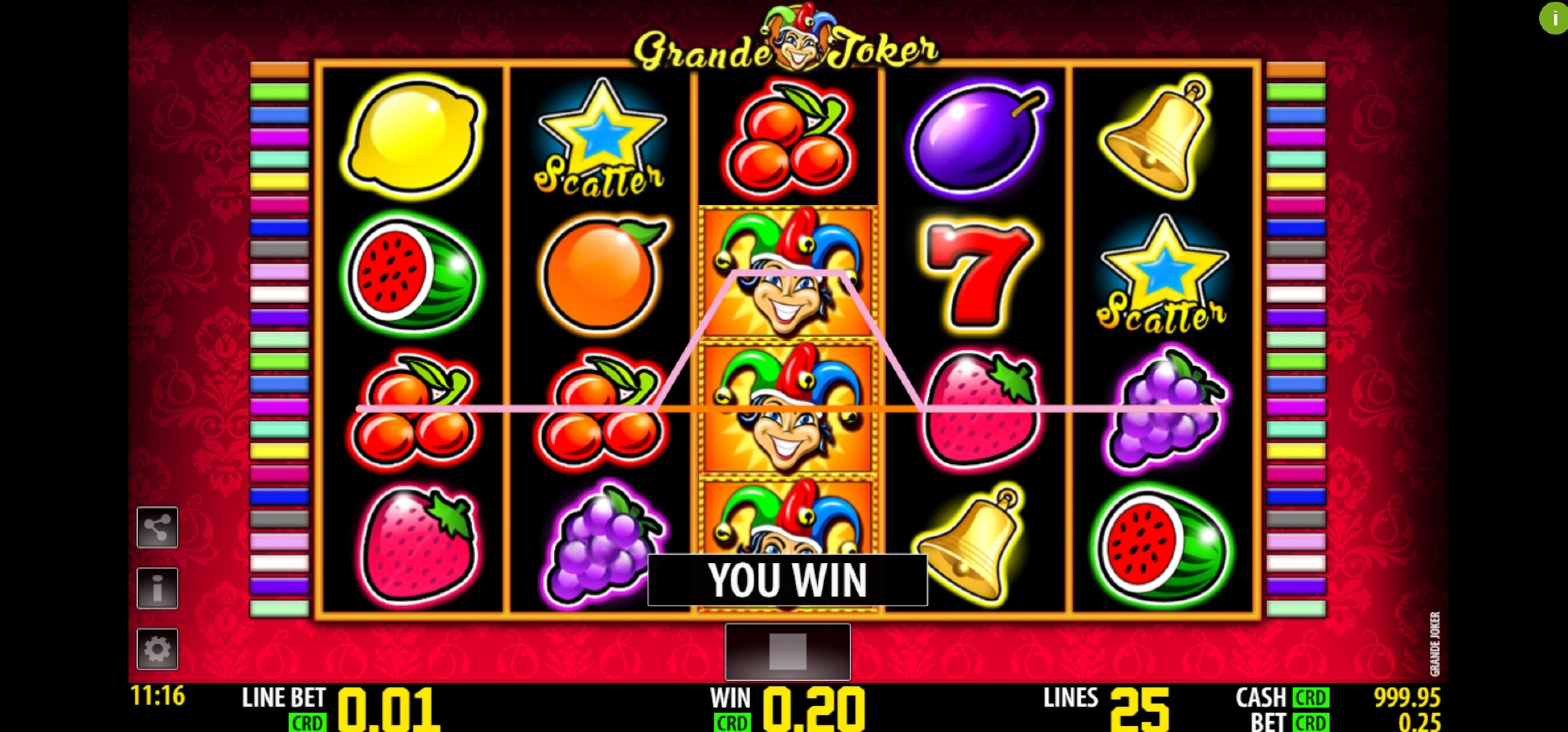 Win Money in Grande Joker Free Slot Game by Nazionale Elettronica