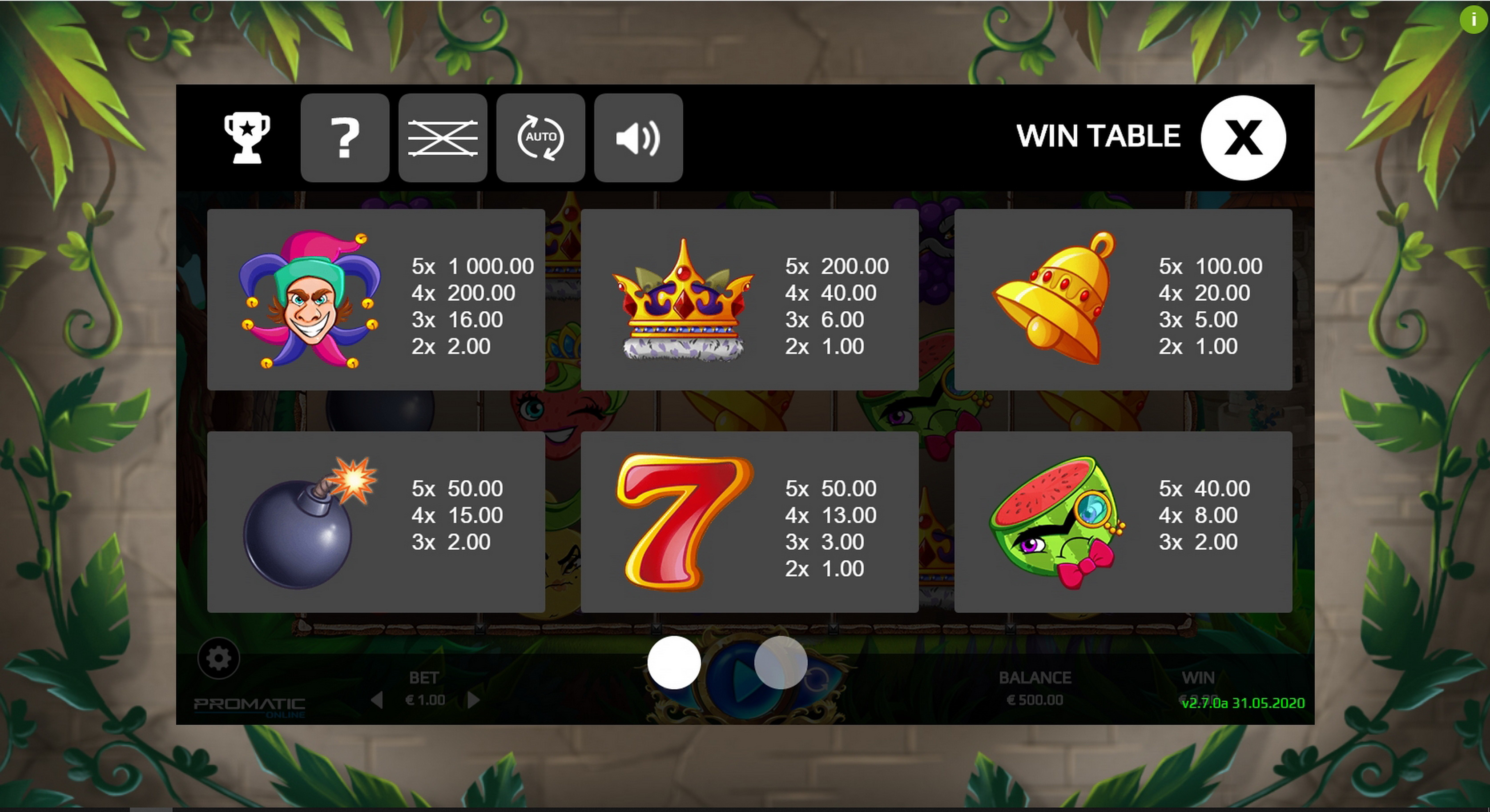 Info of Bonus Target Slot Game by Promatic Games