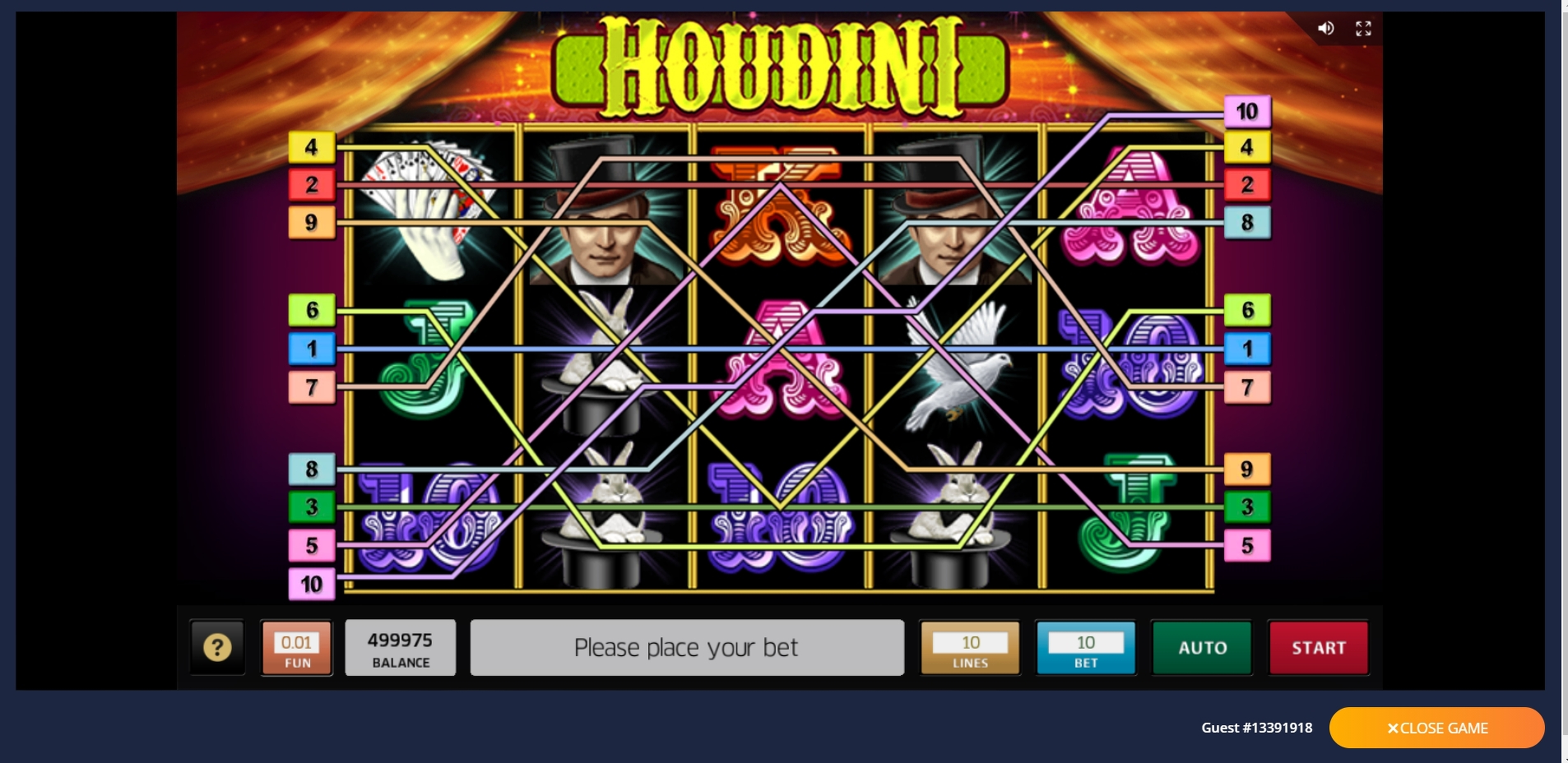 Reels in Houdini Slot Game by Roxor Gaming