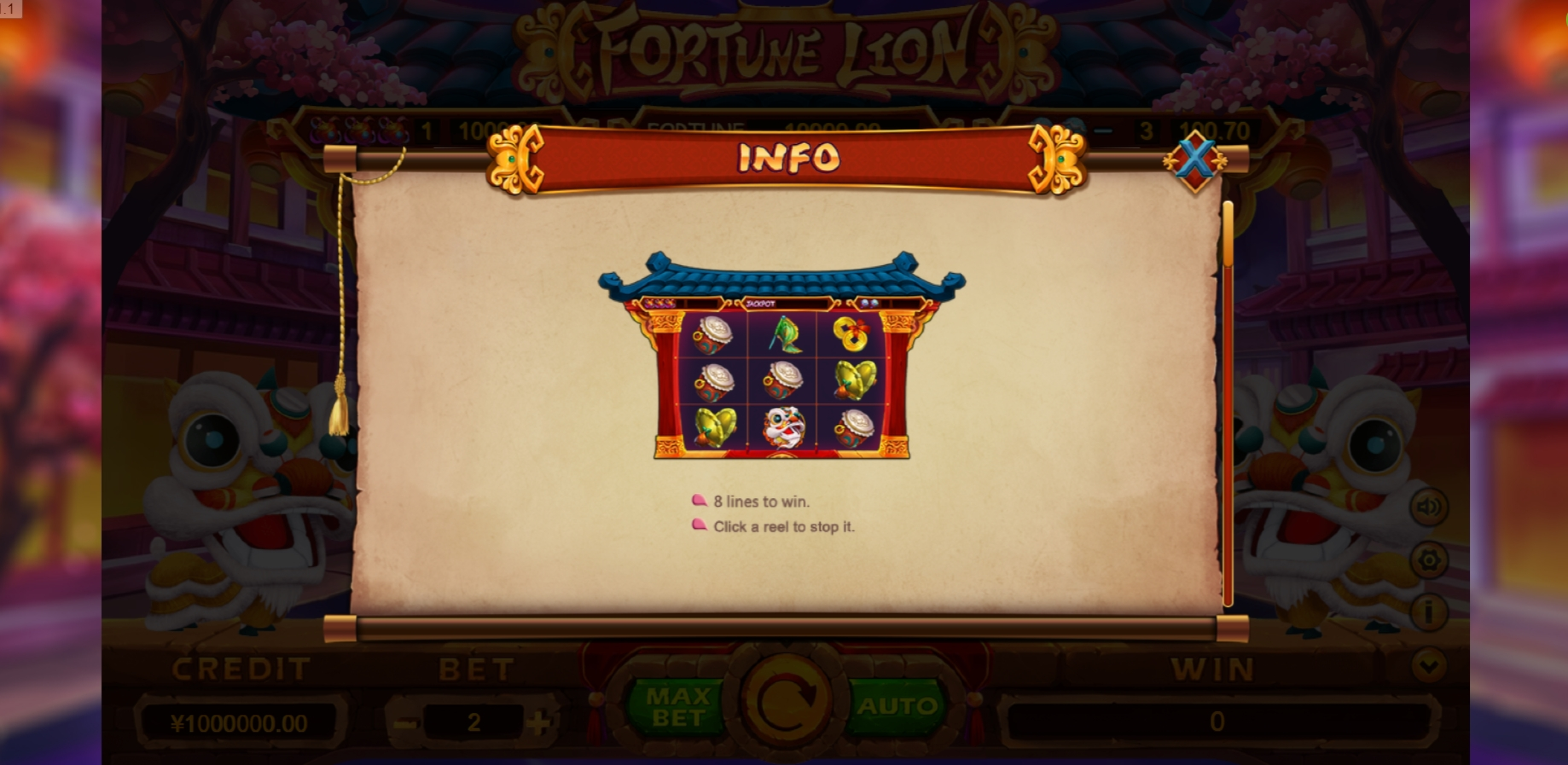 Info of Fortune Lion (TIDY) Slot Game by TIDY