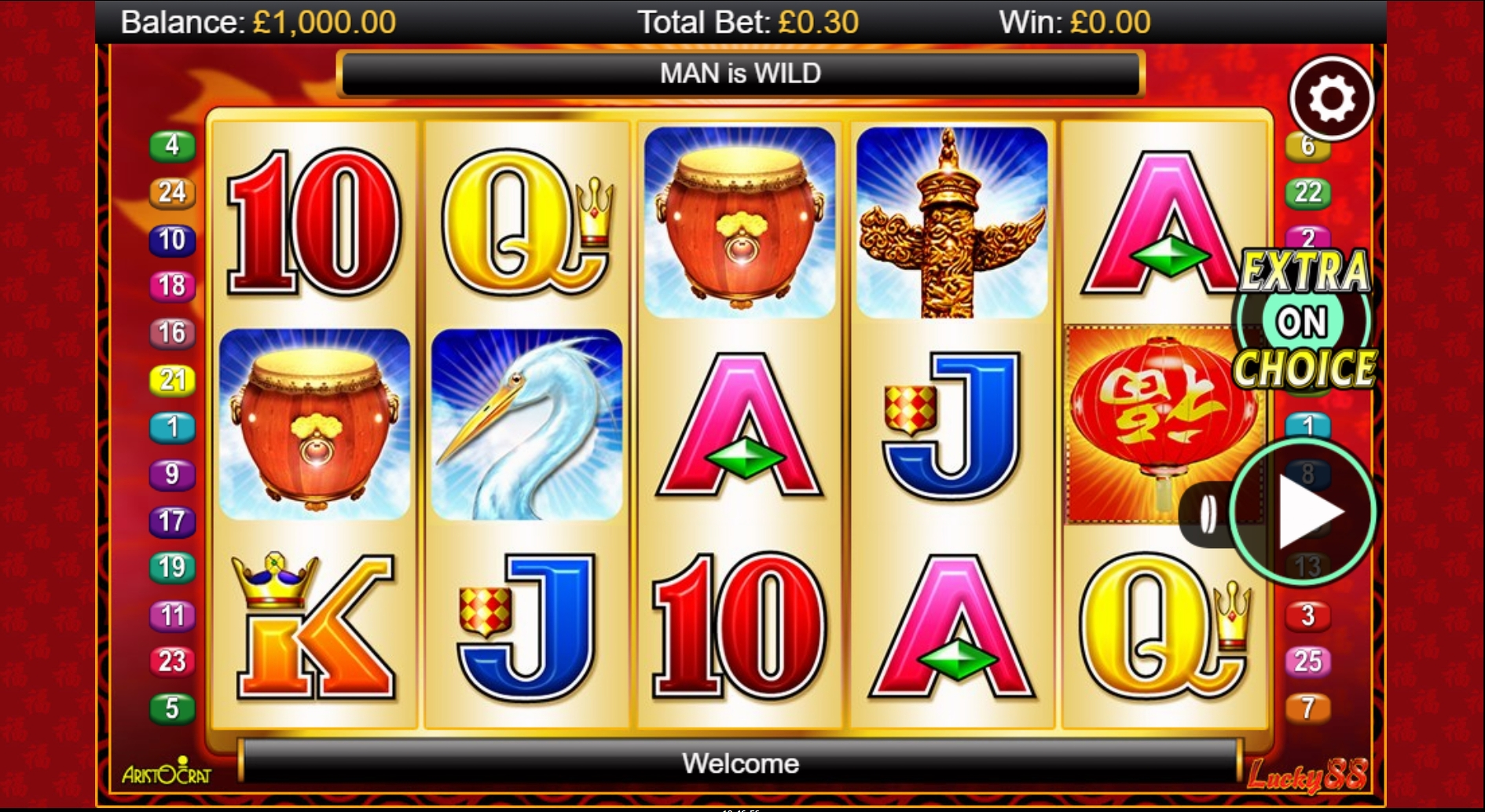 Reels in Lucky 88 Slot Game by Aristocrat