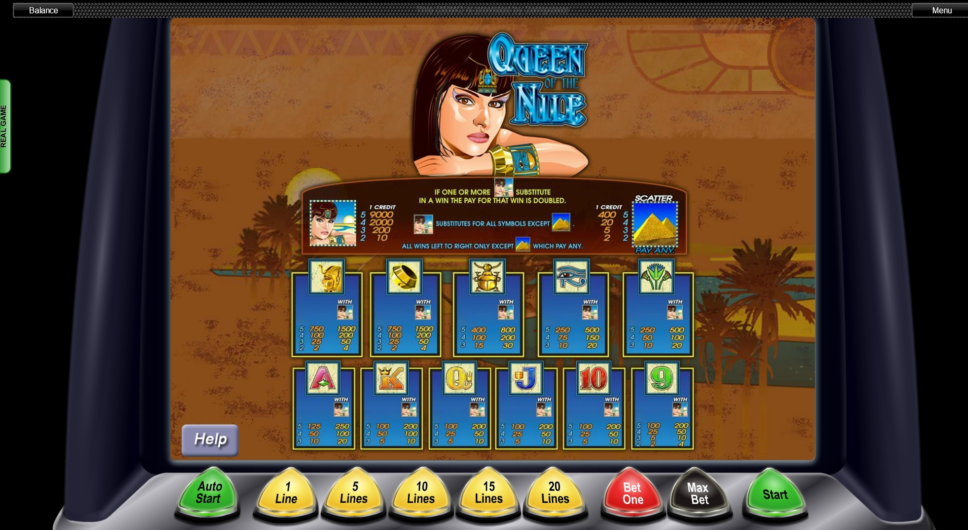Info of Queen Of The Nile Slot Game by Aristocrat