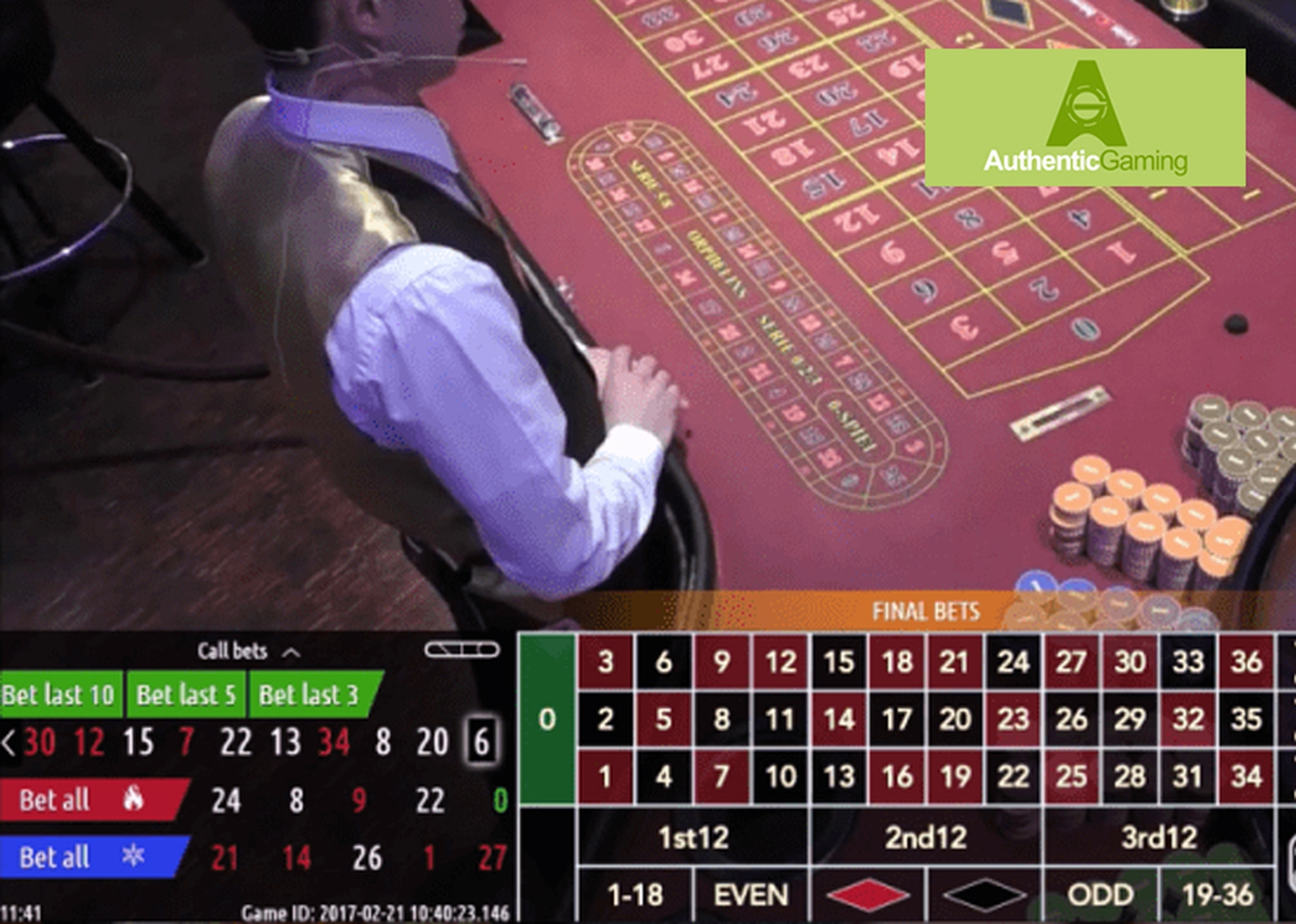 Roulette Platinum Live Casino Online Slot Demo Game by Authentic Gaming
