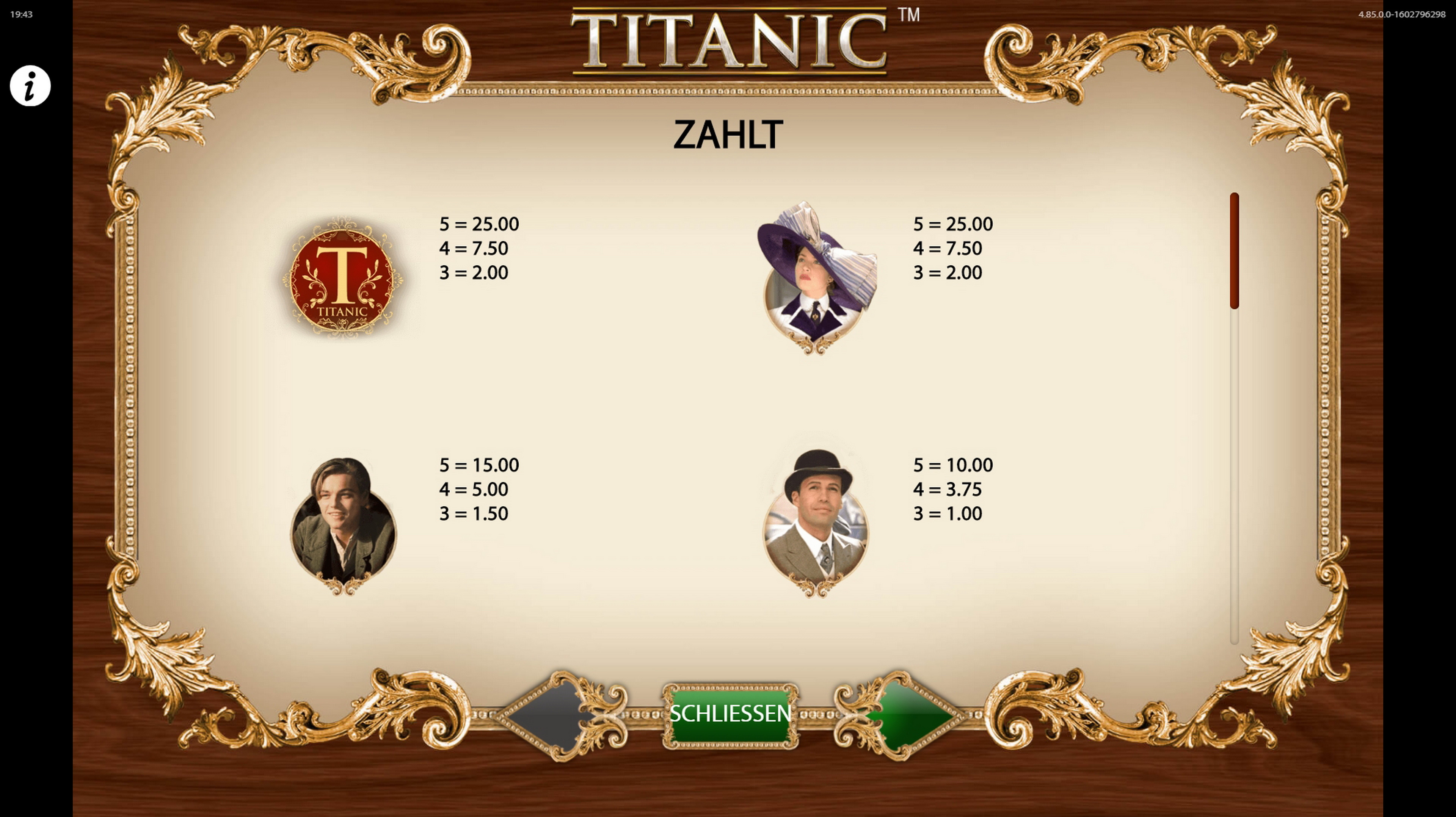 Info of TITANIC Slot Game by Bally