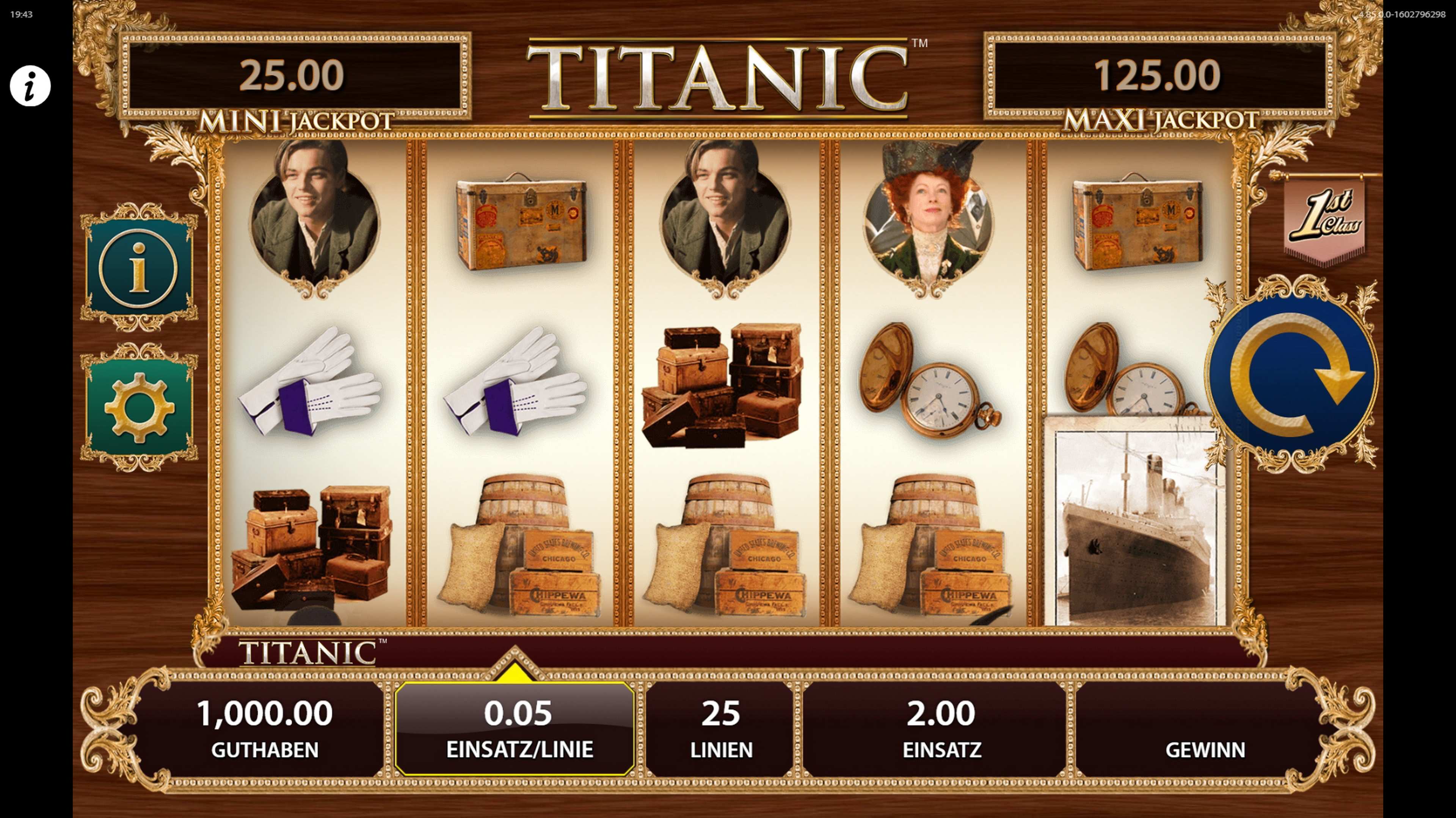Reels in TITANIC Slot Game by Bally