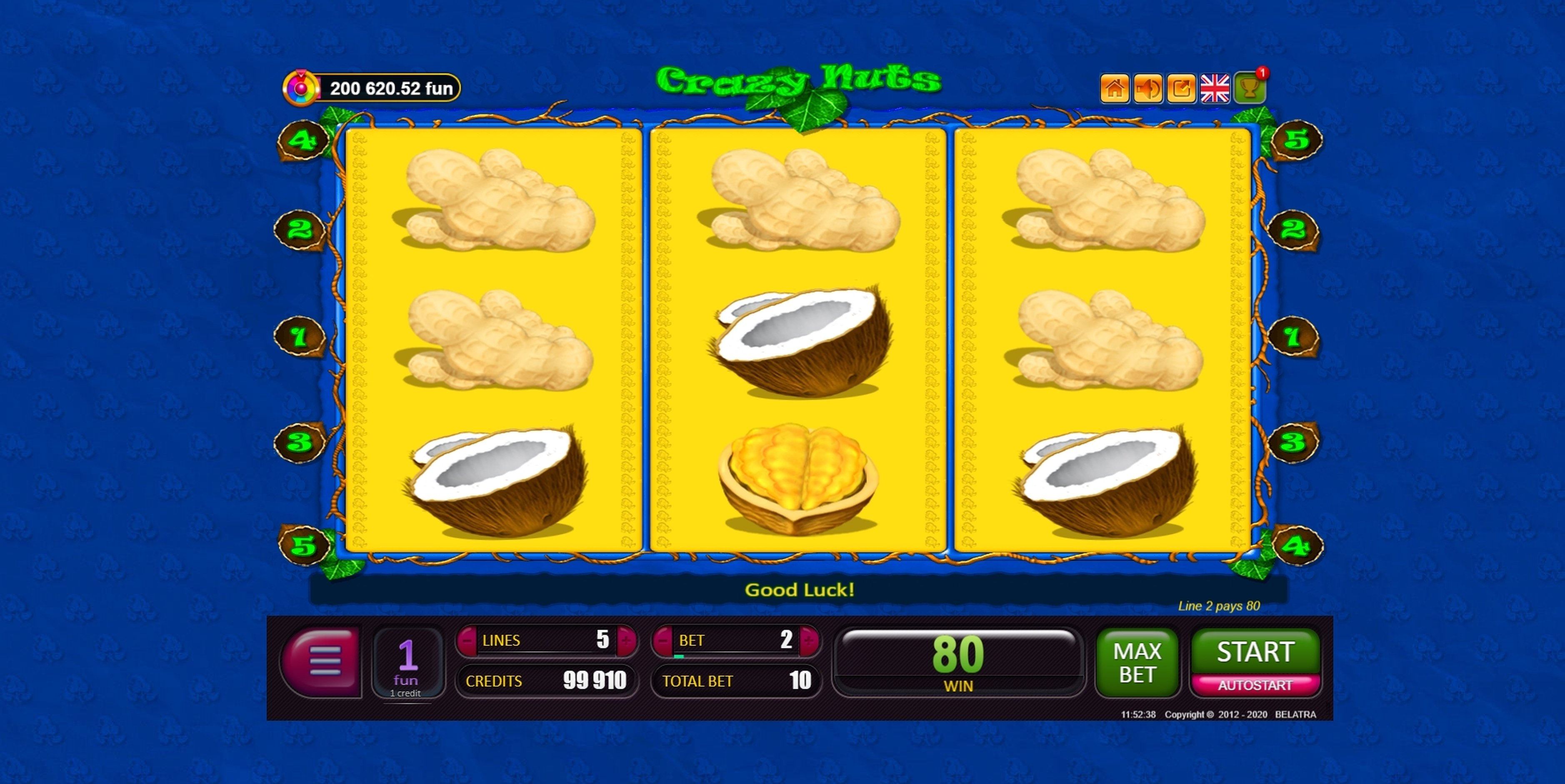 Win Money in Crazy Nuts Free Slot Game by Belatra Games