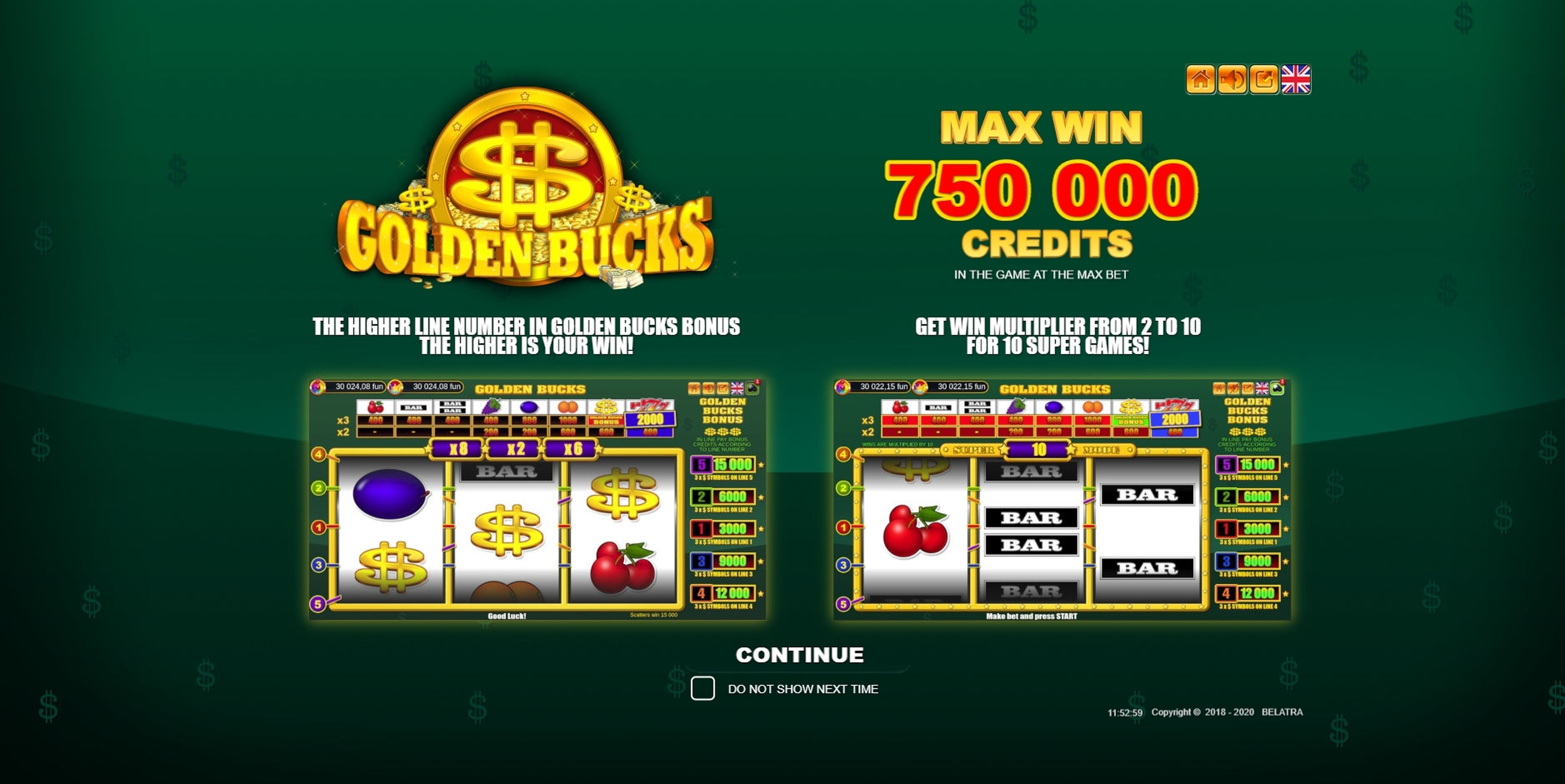 Play Golden Bucks Free Casino Slot Game by Belatra Games