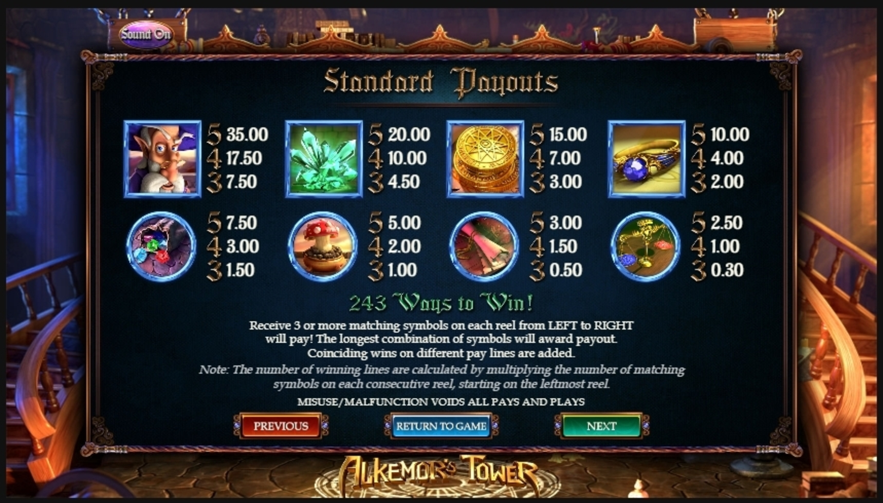 Info of Alkemors Tower Slot Game by Betsoft