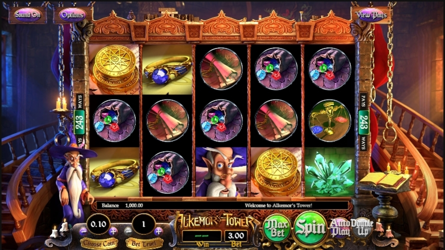 Reels in Alkemors Tower Slot Game by Betsoft