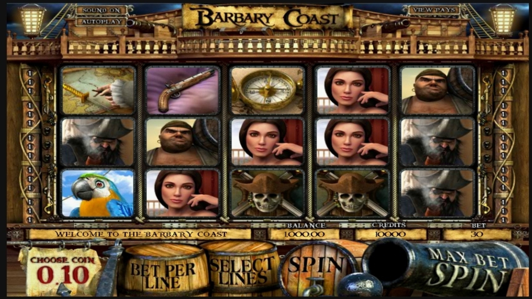 Reels in Barbary Coast Slot Game by Betsoft