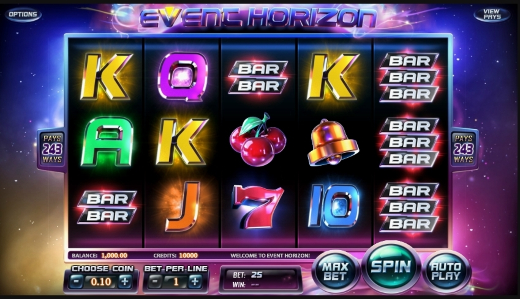 Reels in Event Horizon Slot Game by Betsoft