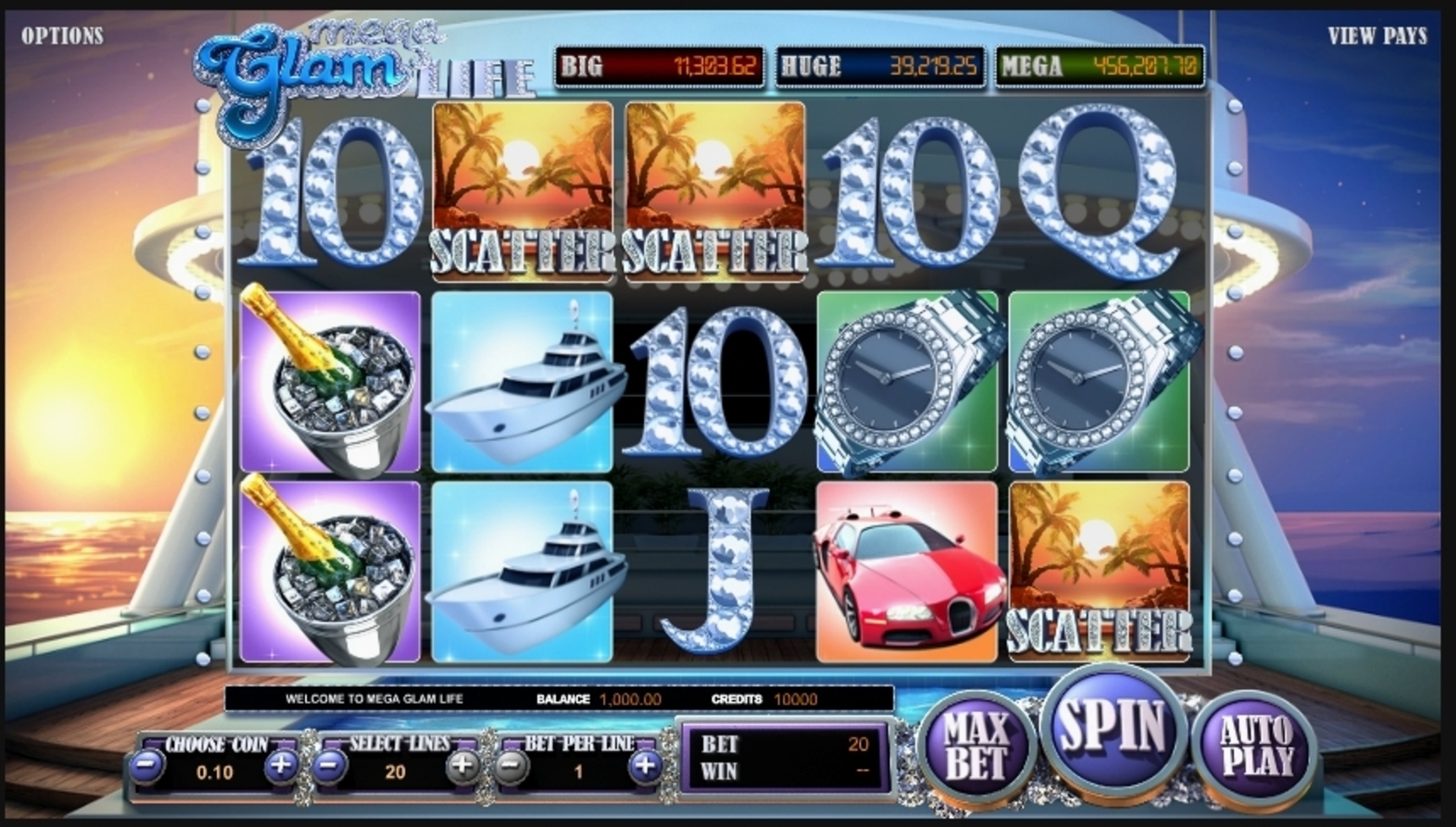 Reels in Mega Glam Life Slot Game by Betsoft