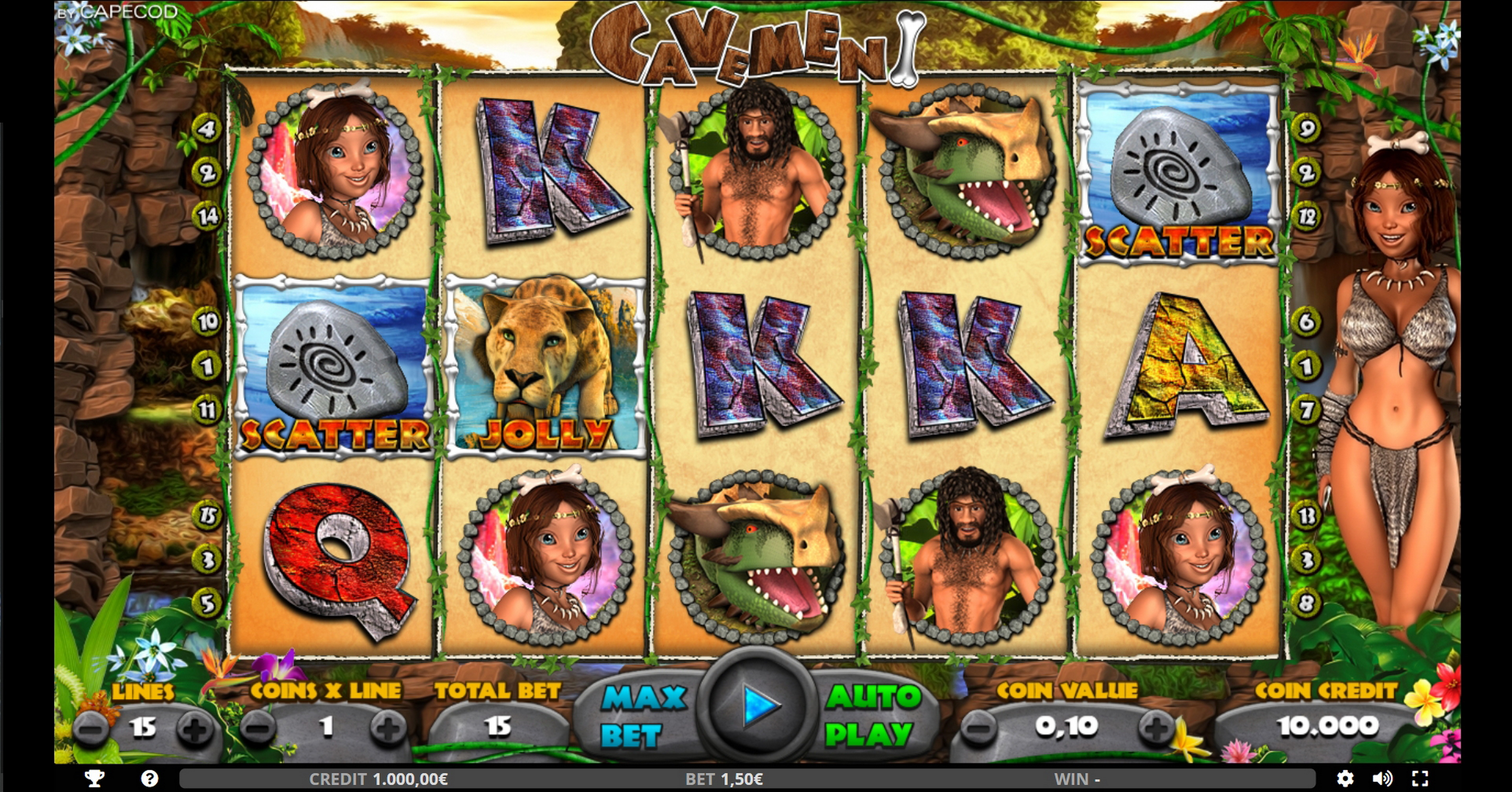 Reels in Cavemen Slot Game by Capecod Gaming