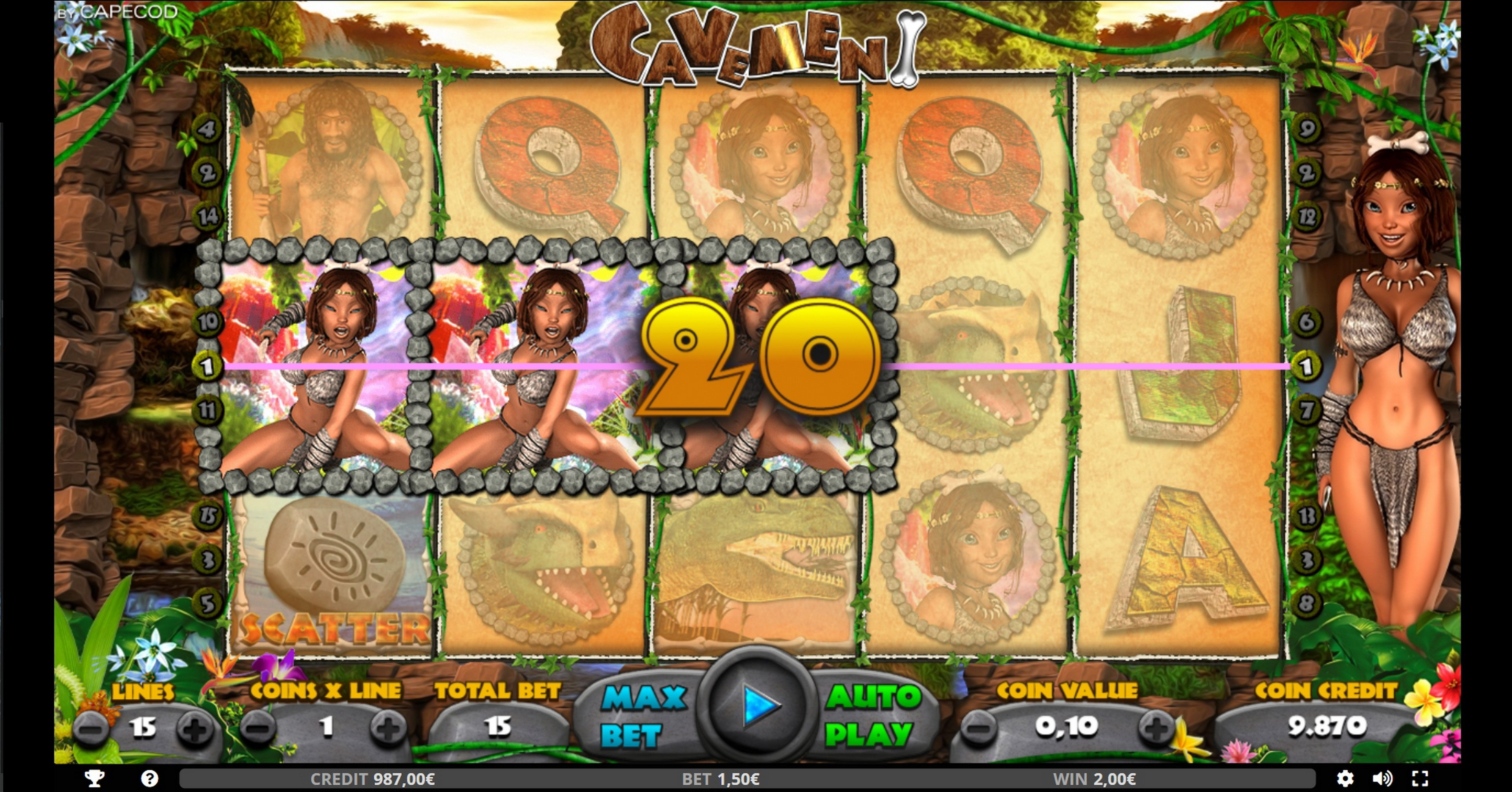 Win Money in Cavemen Free Slot Game by Capecod Gaming