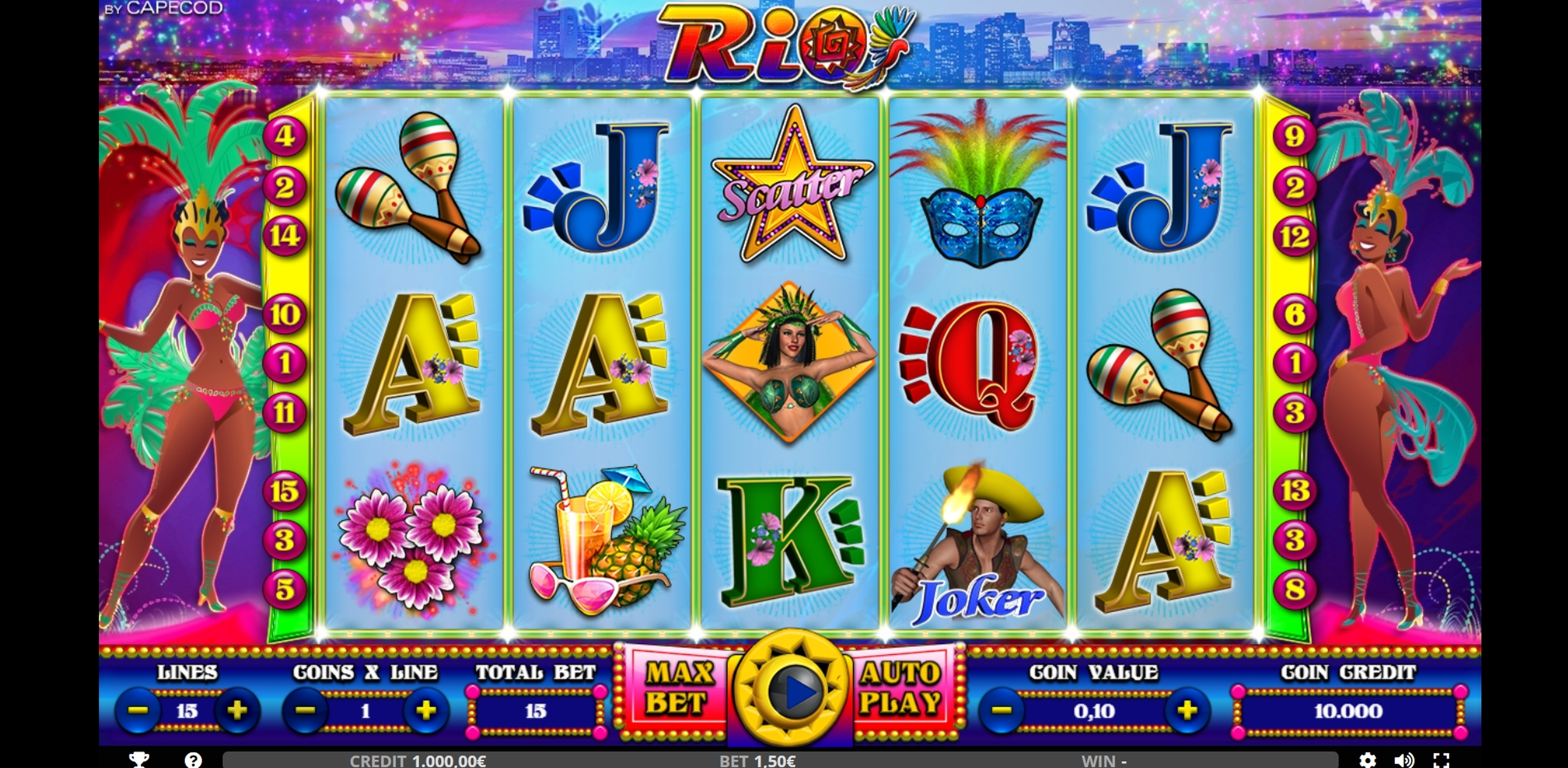 Reels in Rio Slot Game by Capecod Gaming