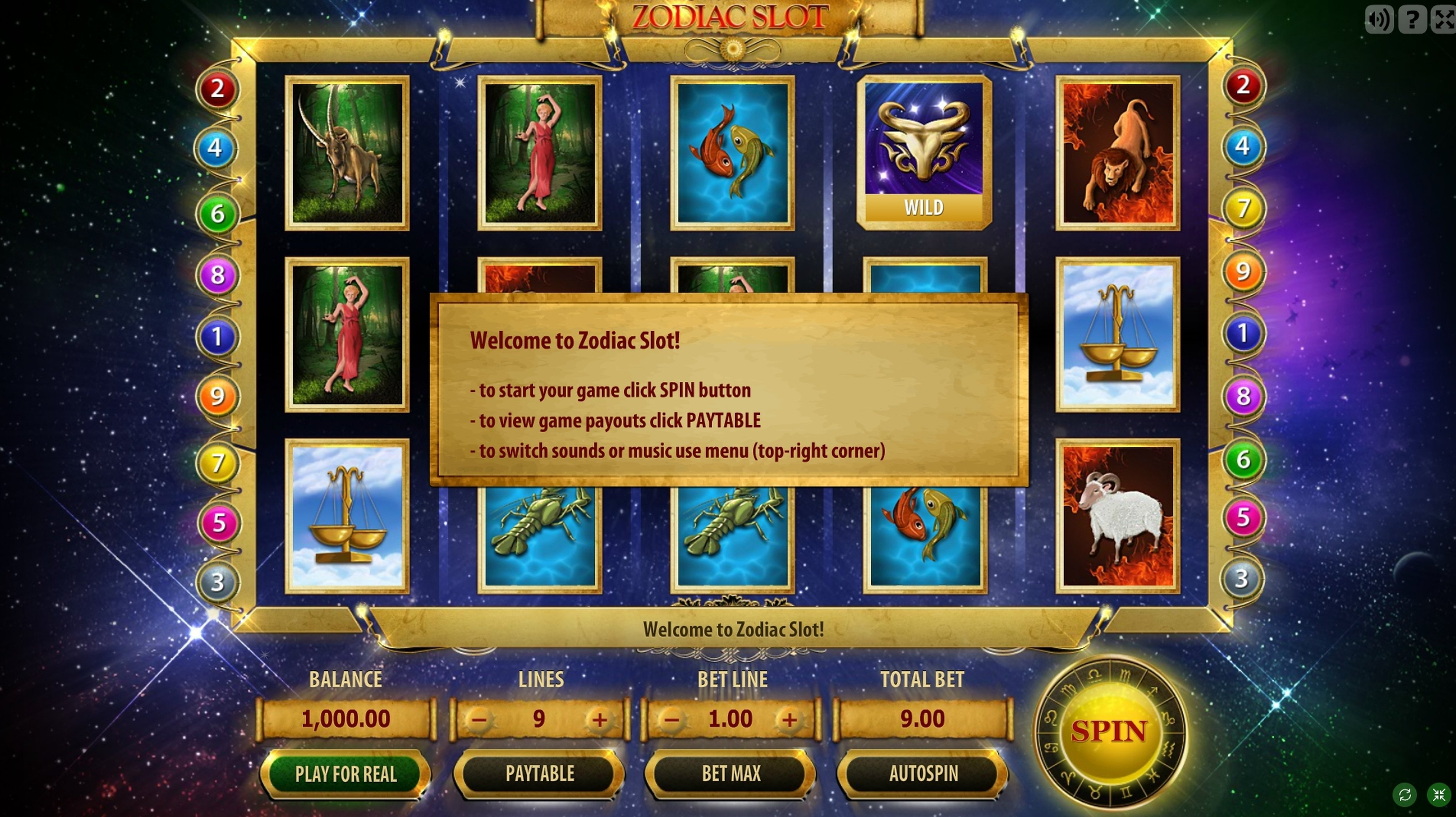 Reels in Zodiac Slot Slot Game by GameScale