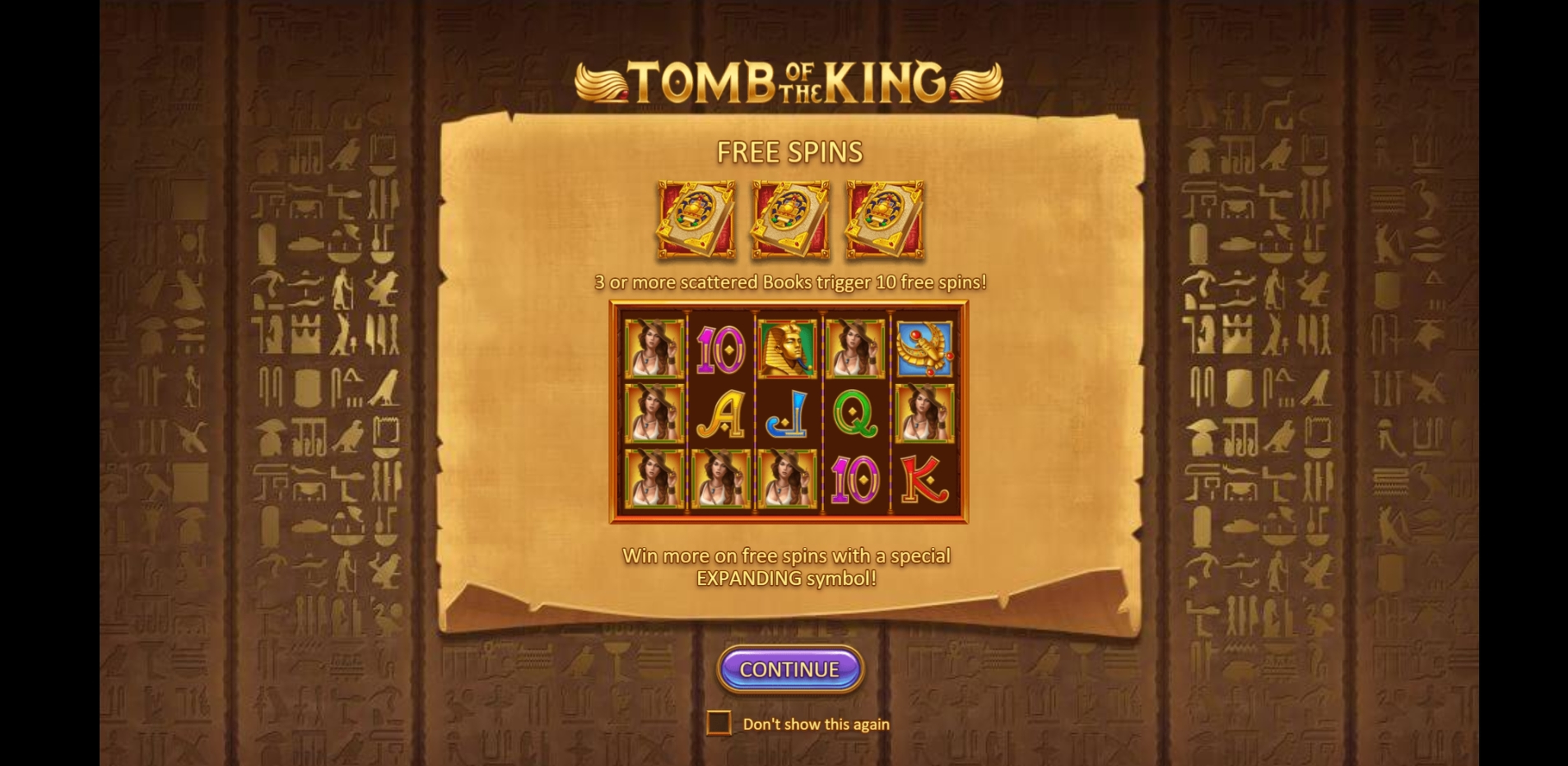 Play Tomb of the King Free Casino Slot Game by Gluck Games