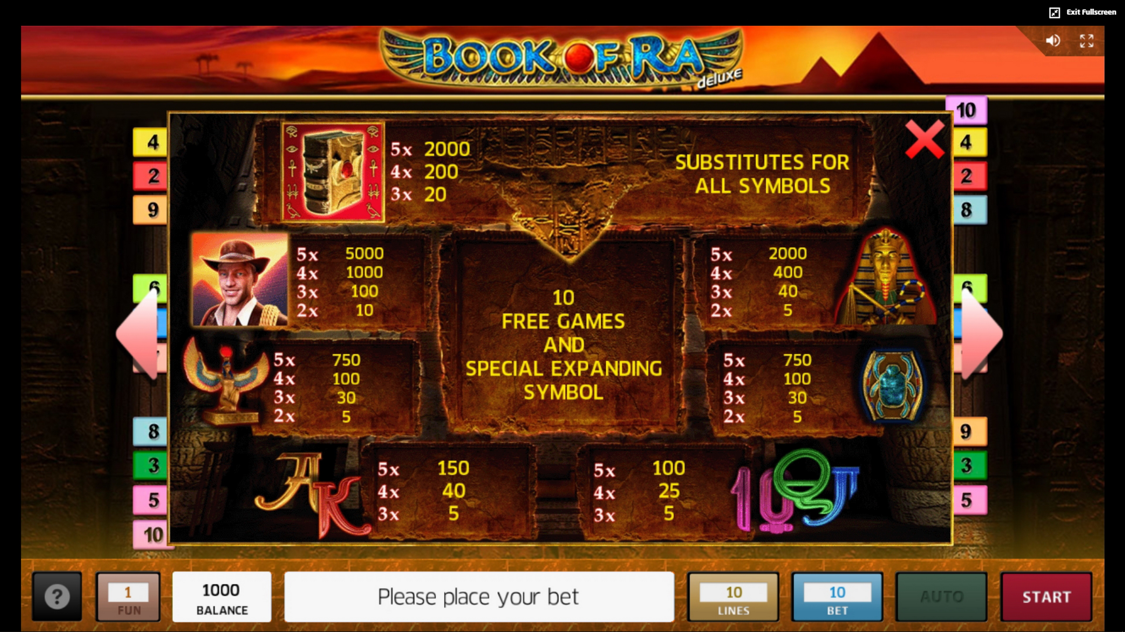 Info of Book of Ra Slot Game by Greentube